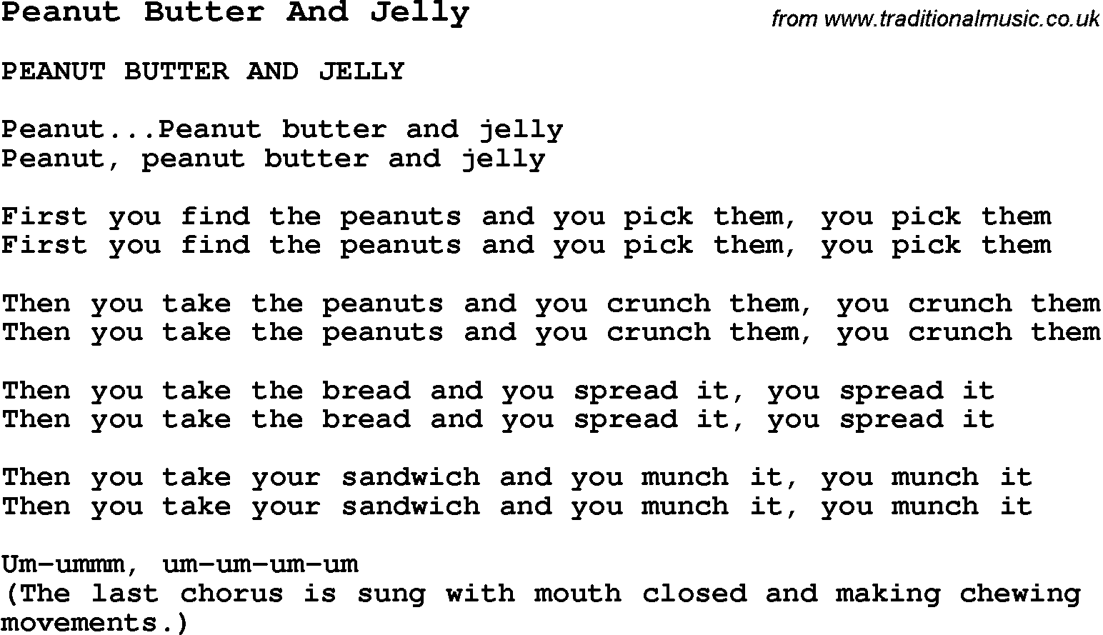 Summer Camp Song, Peanut Butter And Jelly, with lyrics and