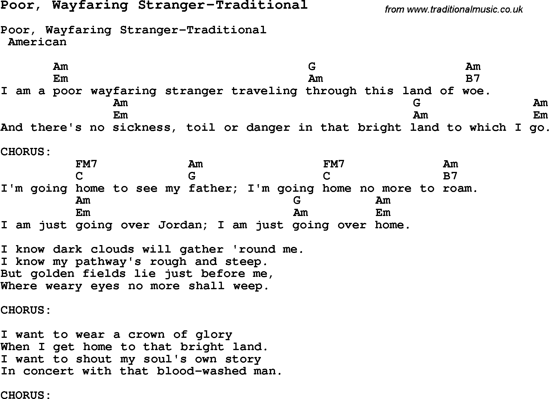 Summer Camp Song, Poor, Wayfaring Stranger-Traditional, with lyrics and chords for Ukulele ...