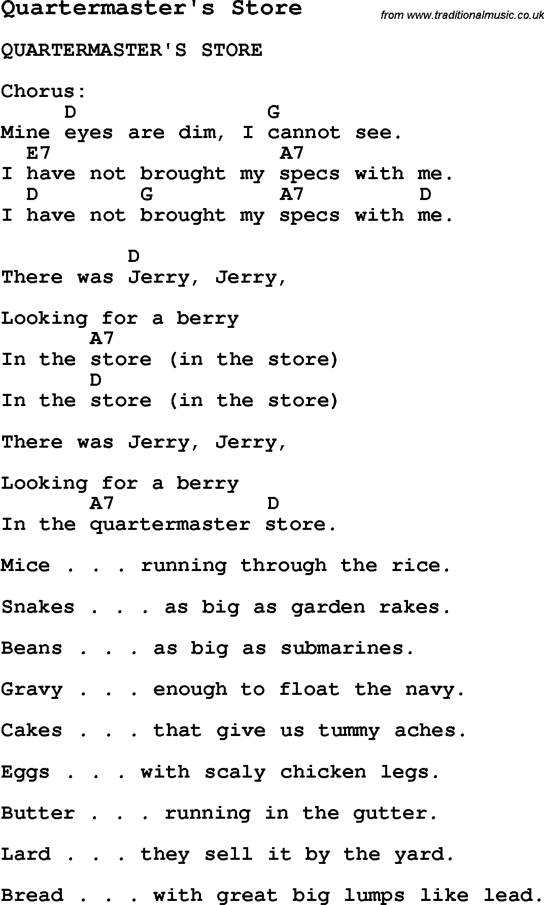 Summer Camp Song, Quartermaster's Store, with lyrics and ...