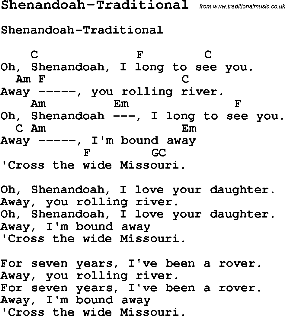 Summer camp song shenandoah traditional with lyrics and chords summer camp song shenandoah traditional with lyrics and chords for ukulele hexwebz Images
