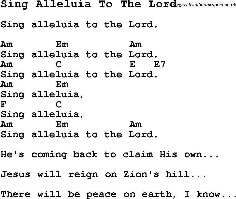 Summer Camp Song Sing Alleluia To The Lord With Lyrics And Chords