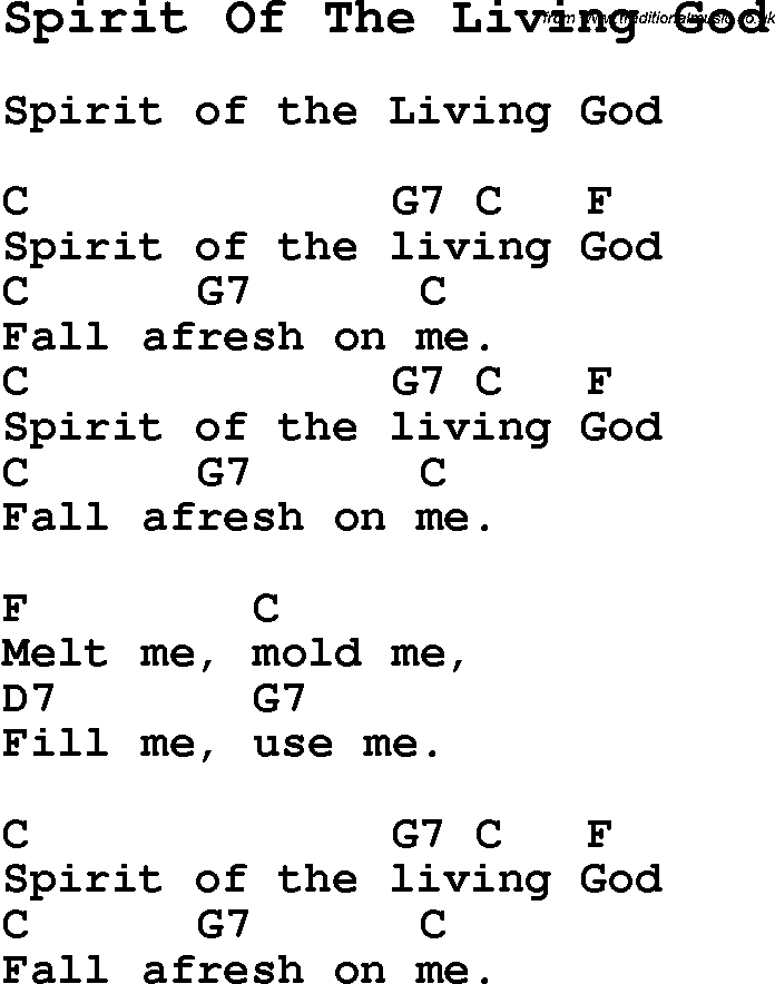 Summer Camp Song, Spirit Of The Living God, with lyrics and chords ...