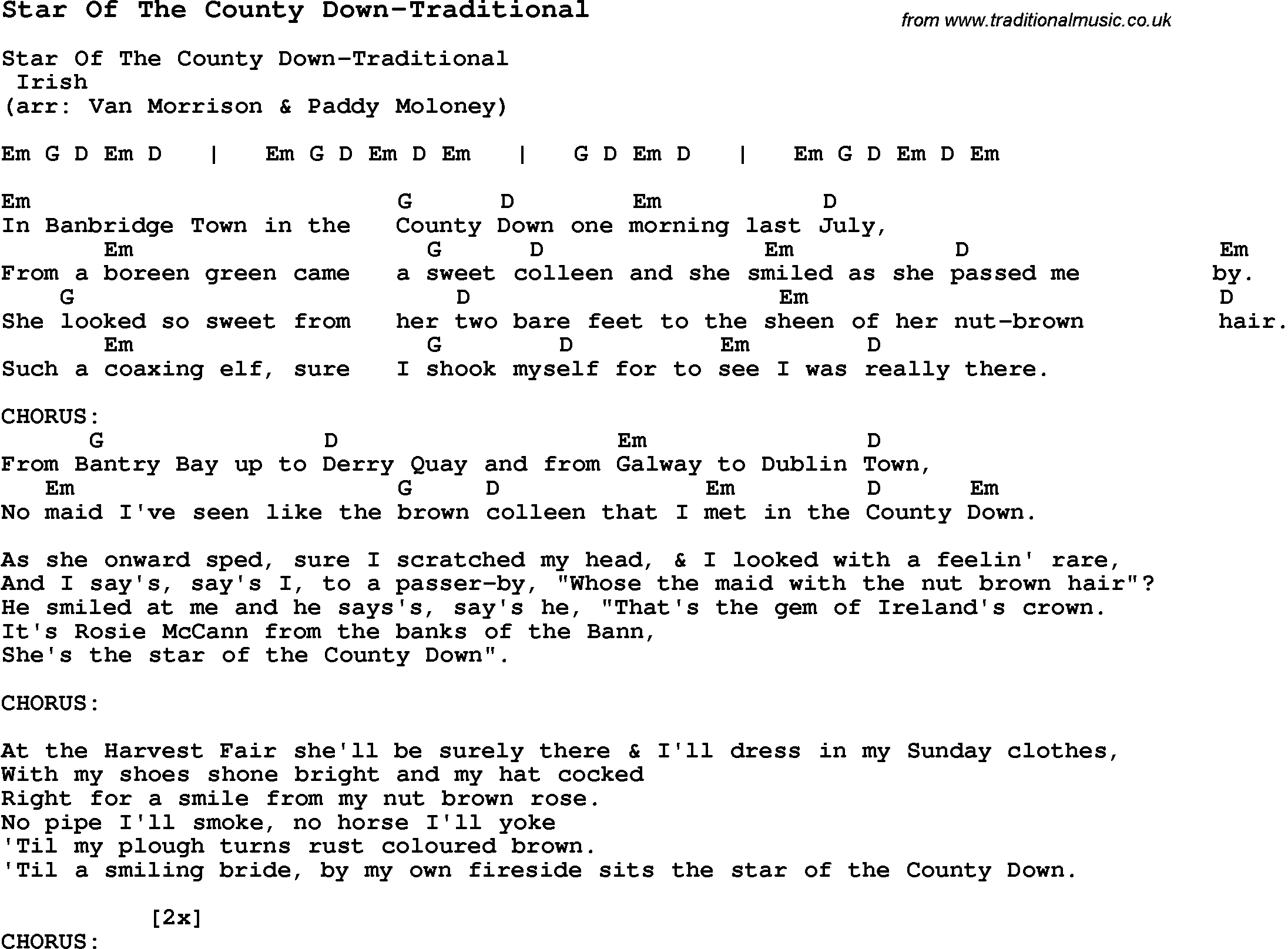 Summer Camp Song Star Of The County Down Traditional With Lyrics