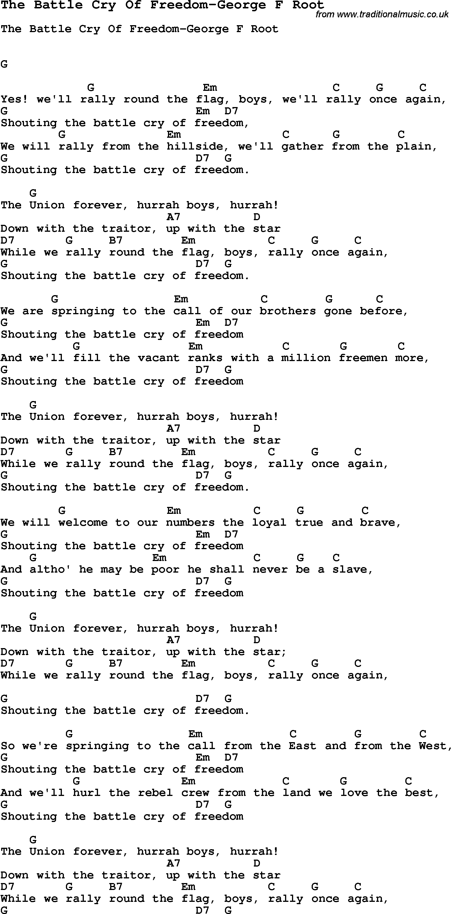 Summer Camp Song The Battle Cry Of Freedom George F Root With