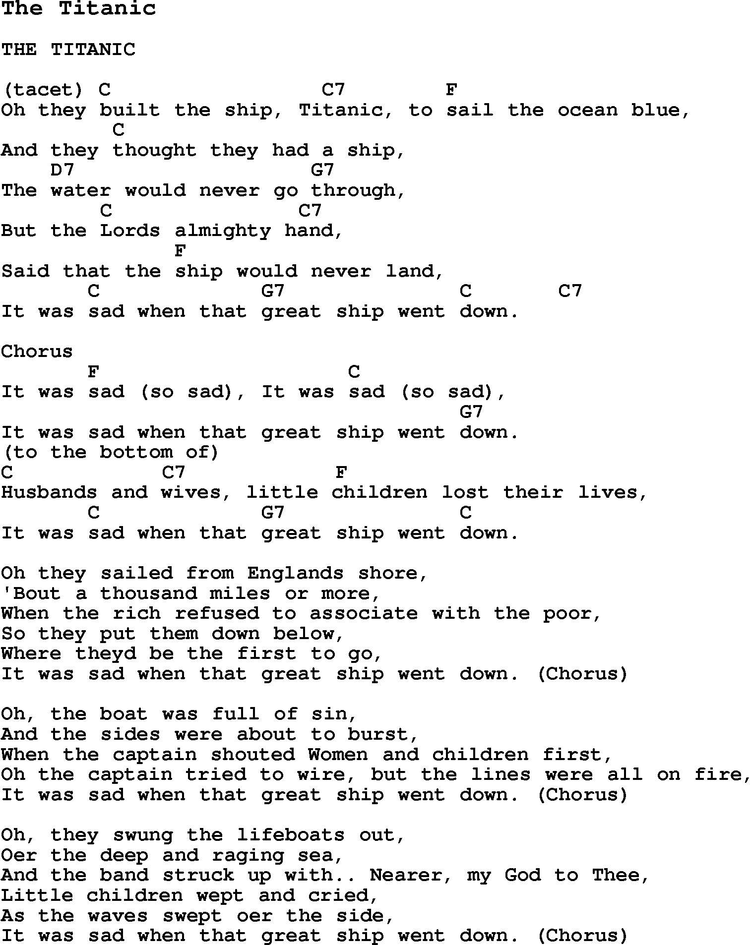 Summer Camp Song, The Titanic, with lyrics and chords for