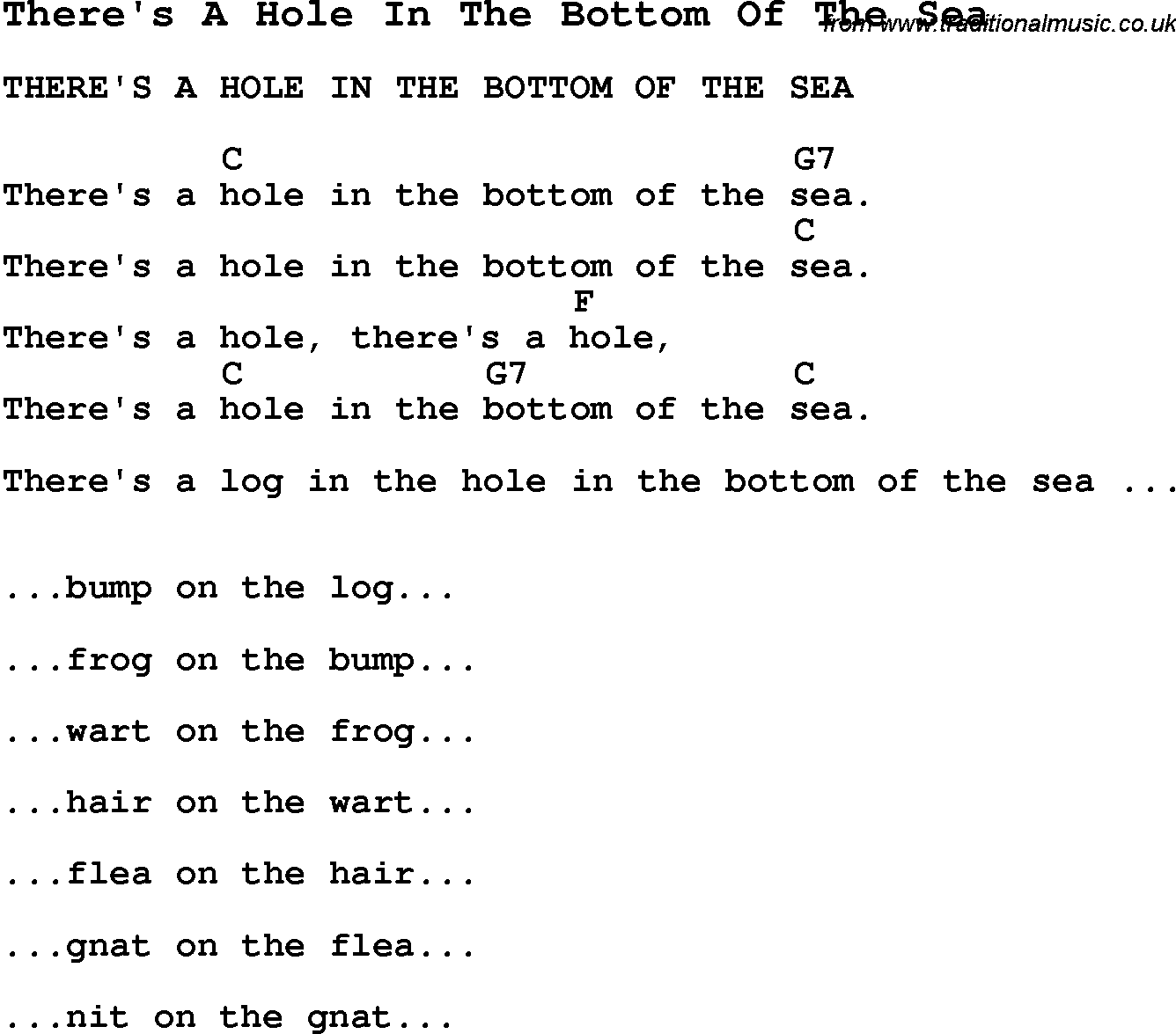 Bottom hole in lyric sea
