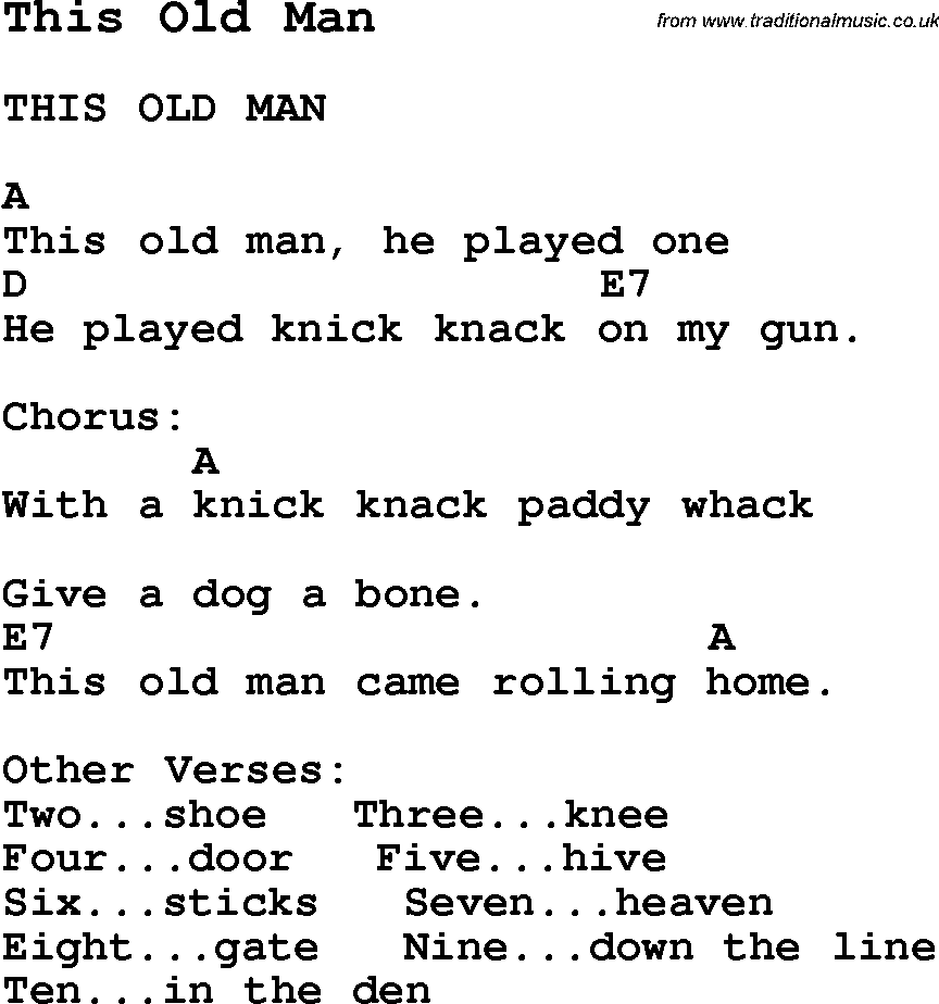 Summer Camp Song This Old Man With Lyrics And Chords For Ukulele