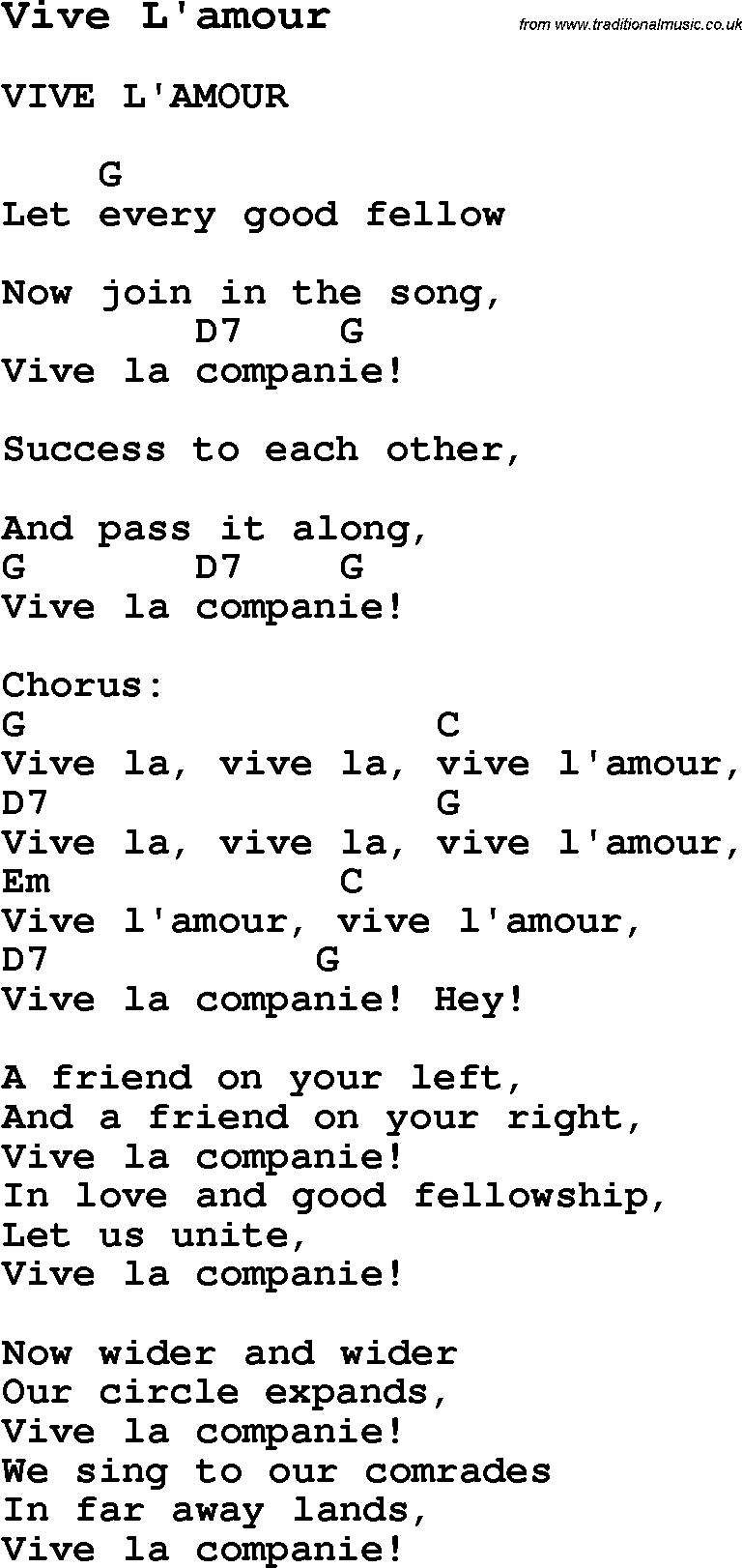 Summer Camp Song, Vive L'amour, with lyrics and chords for ...