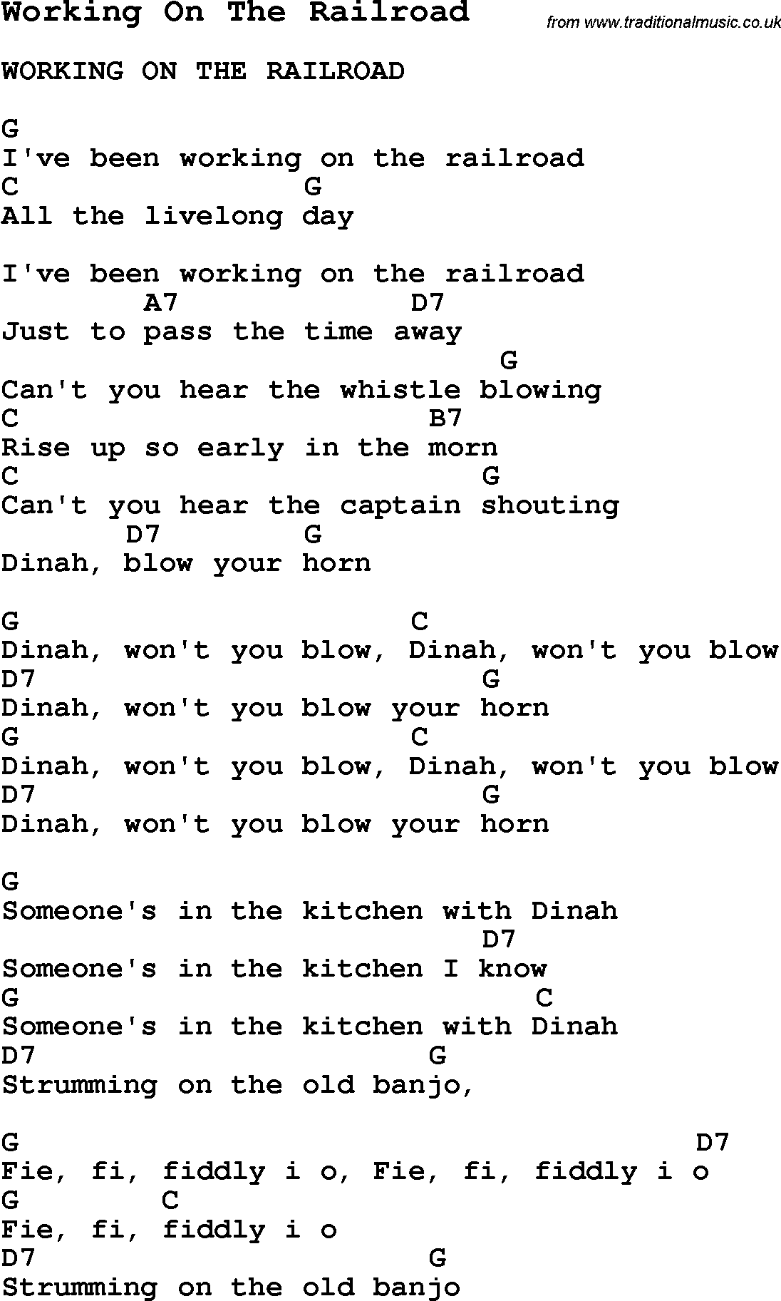 Summer Camp Song, Working On The Railroad, with lyrics and chords ...