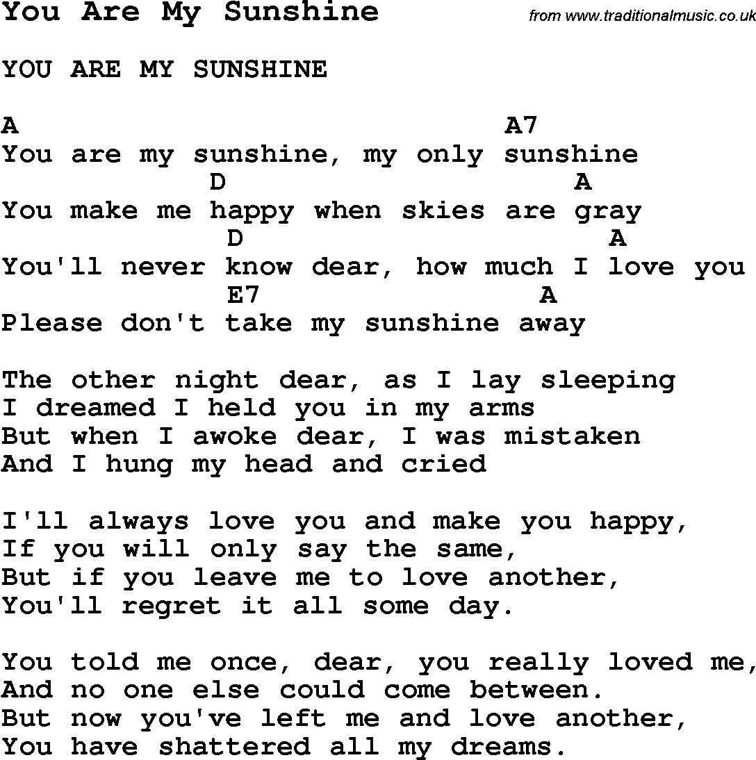 Summer Camp Song You Are My Sunshine With Lyrics And Chords For