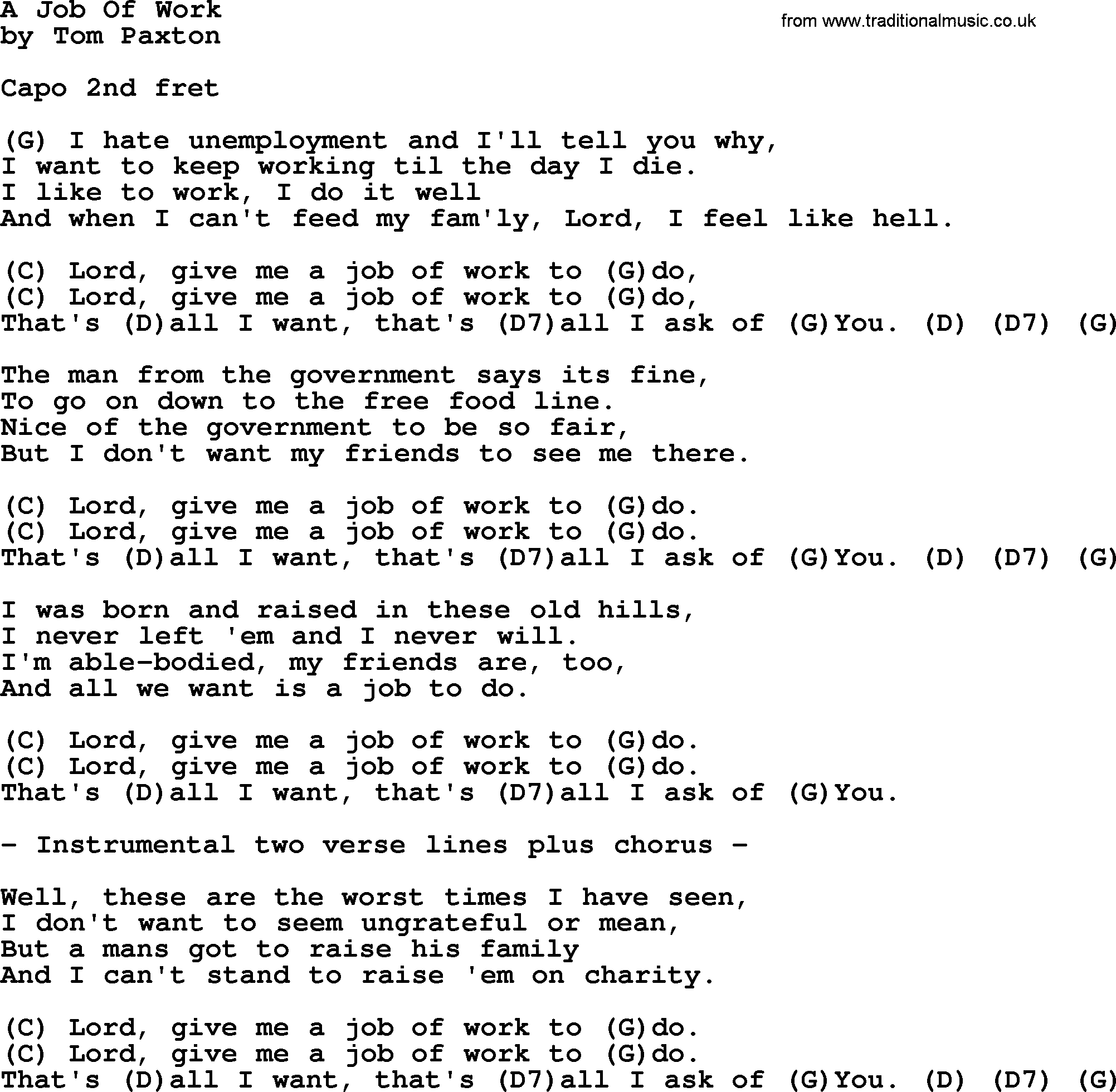 a job of work by tom paxton lyrics and chords tom paxton song a job of work lyrics and chords