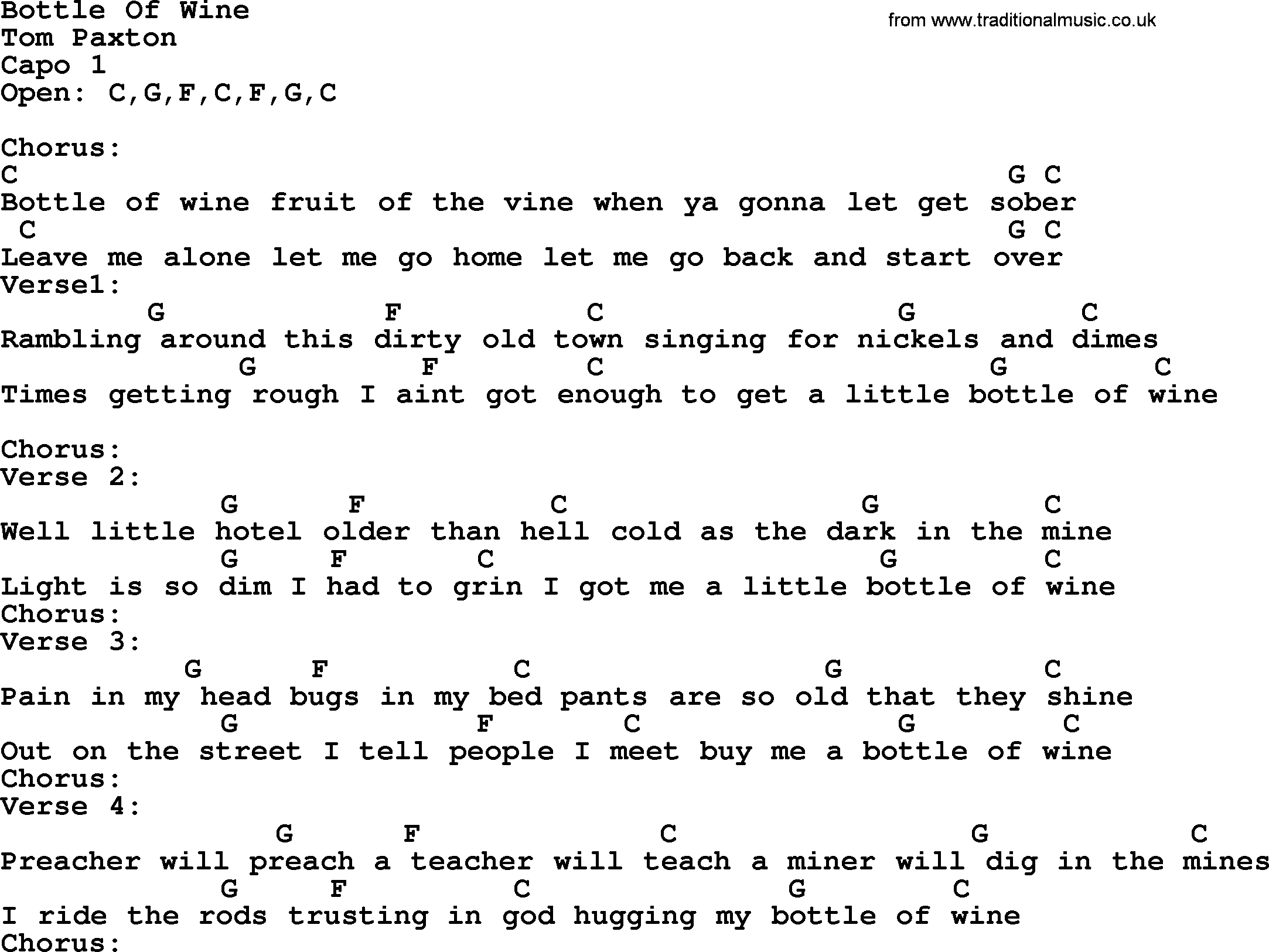 Bottle of wine by tom paxton lyrics and chords tom paxton song bottle of wine lyrics and chords hexwebz Image collections