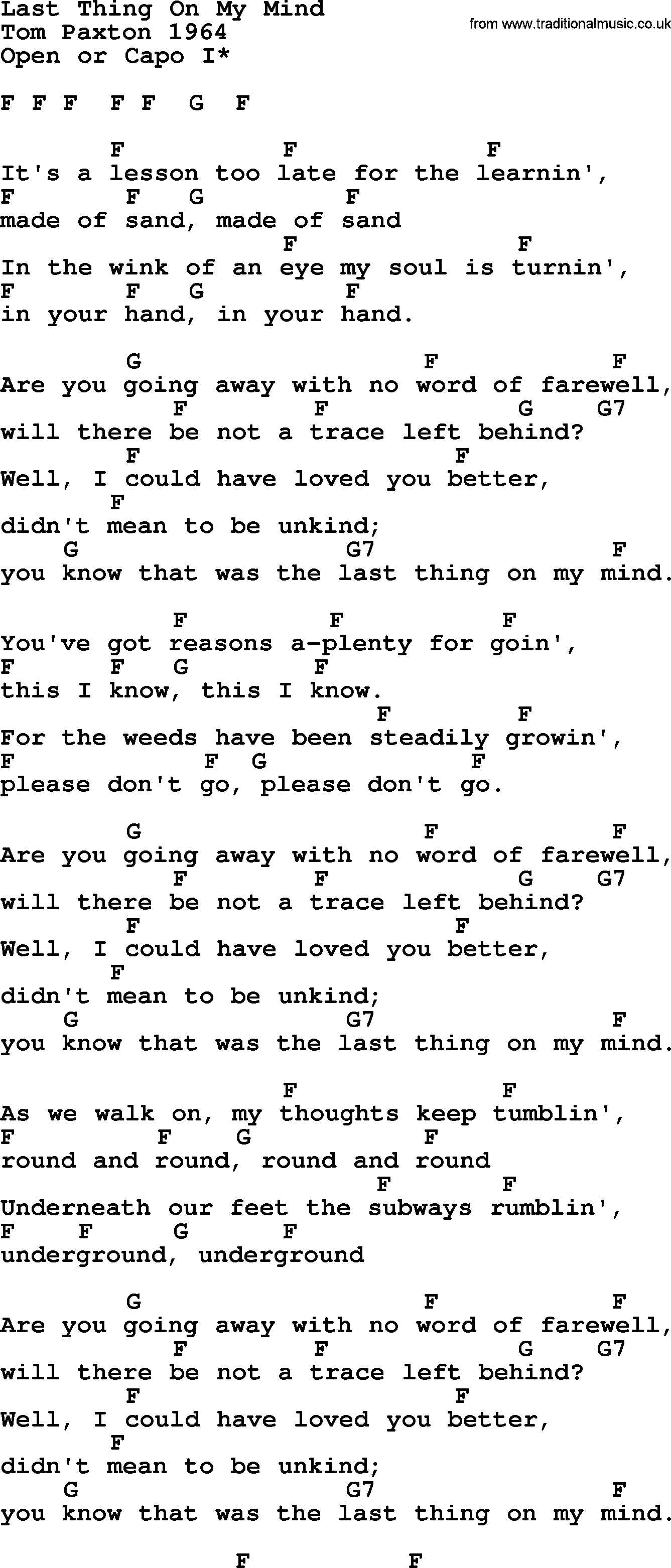 Last Thing On My Mind by Tom Paxton   lyrics and chords