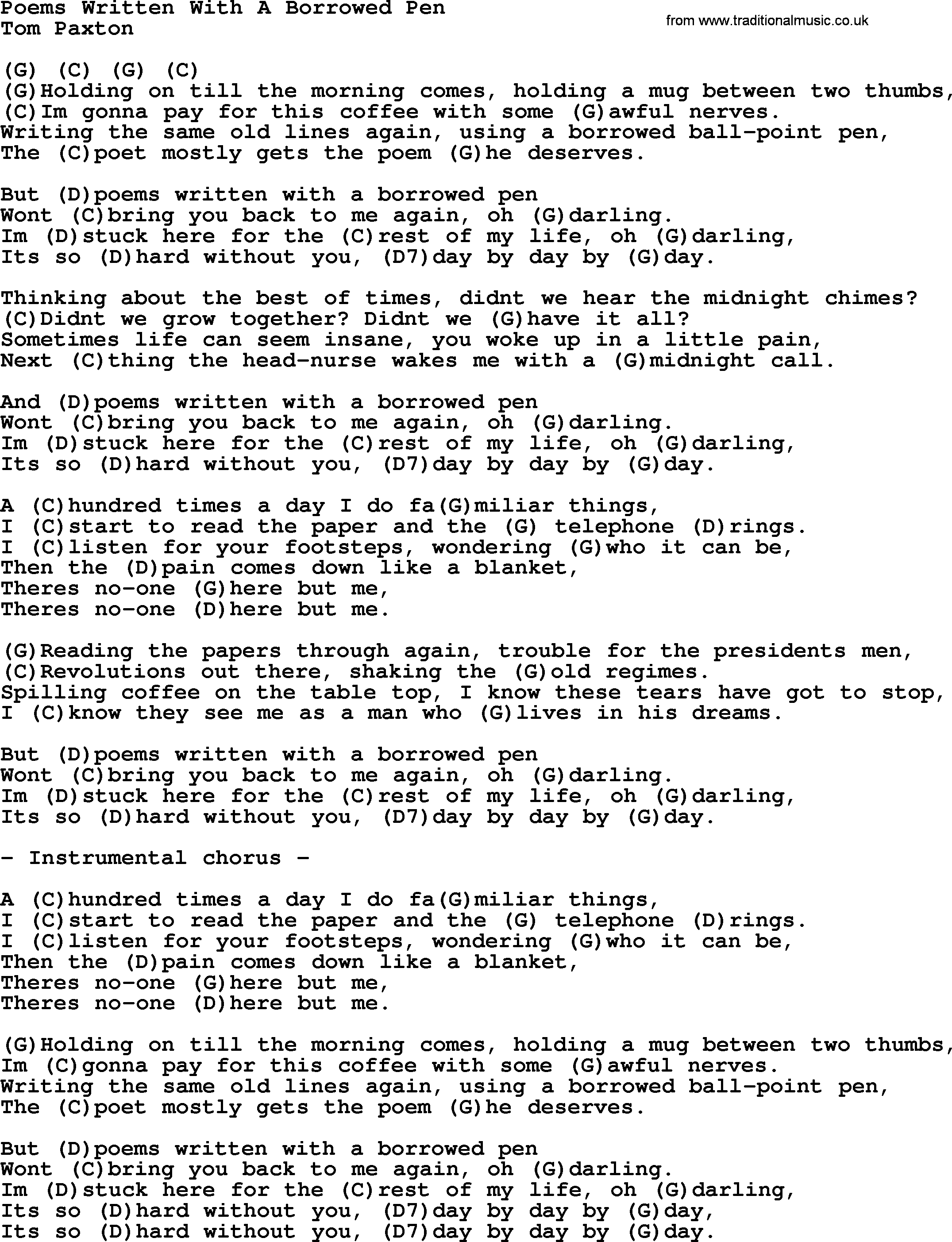 Poems written with a borrowed pen by tom paxton lyrics and chords tom paxton song poems written with a borrowed pen lyrics and chords hexwebz Image collections