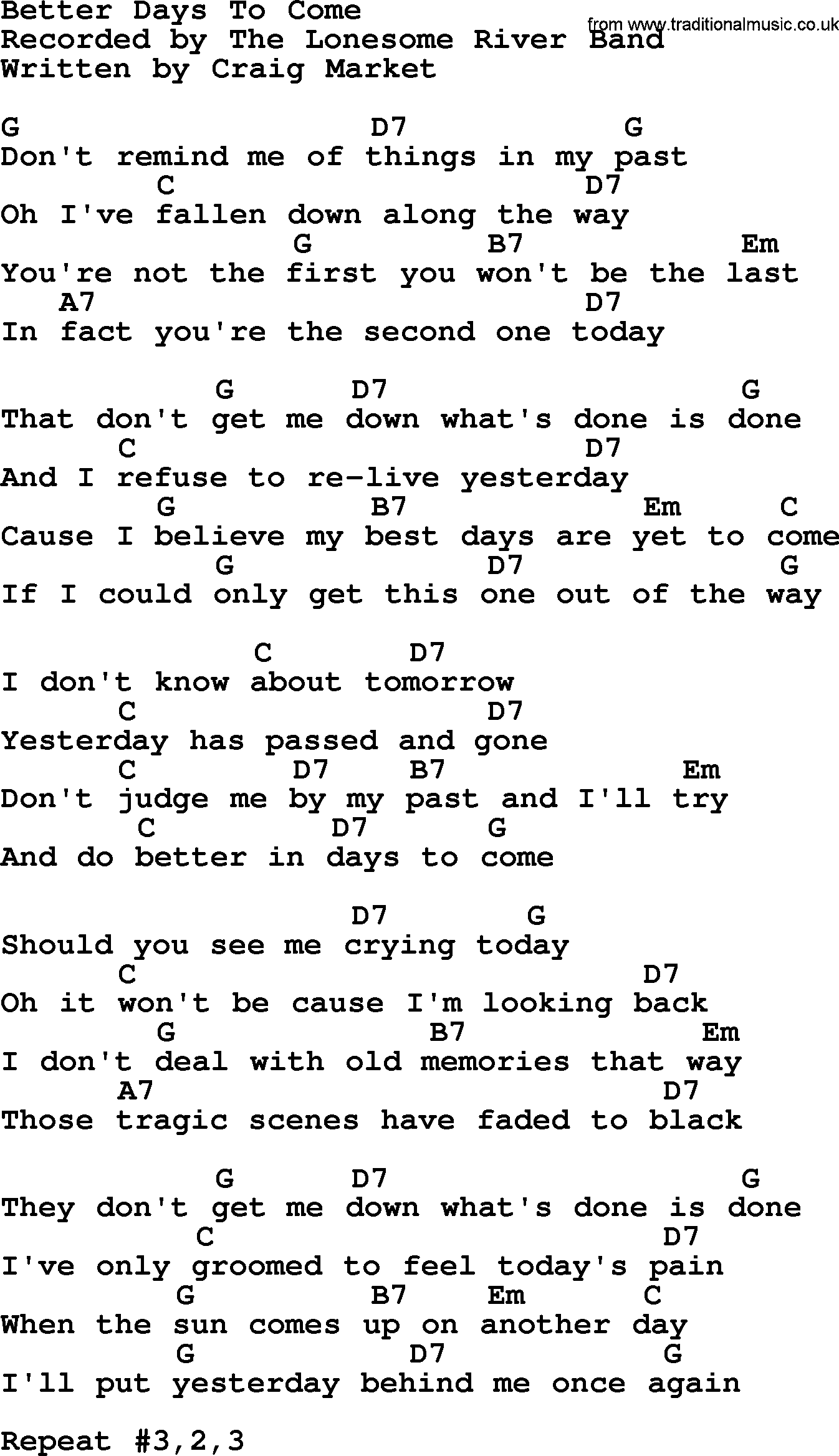 Better Days To Come Bluegrass Lyrics With Chords