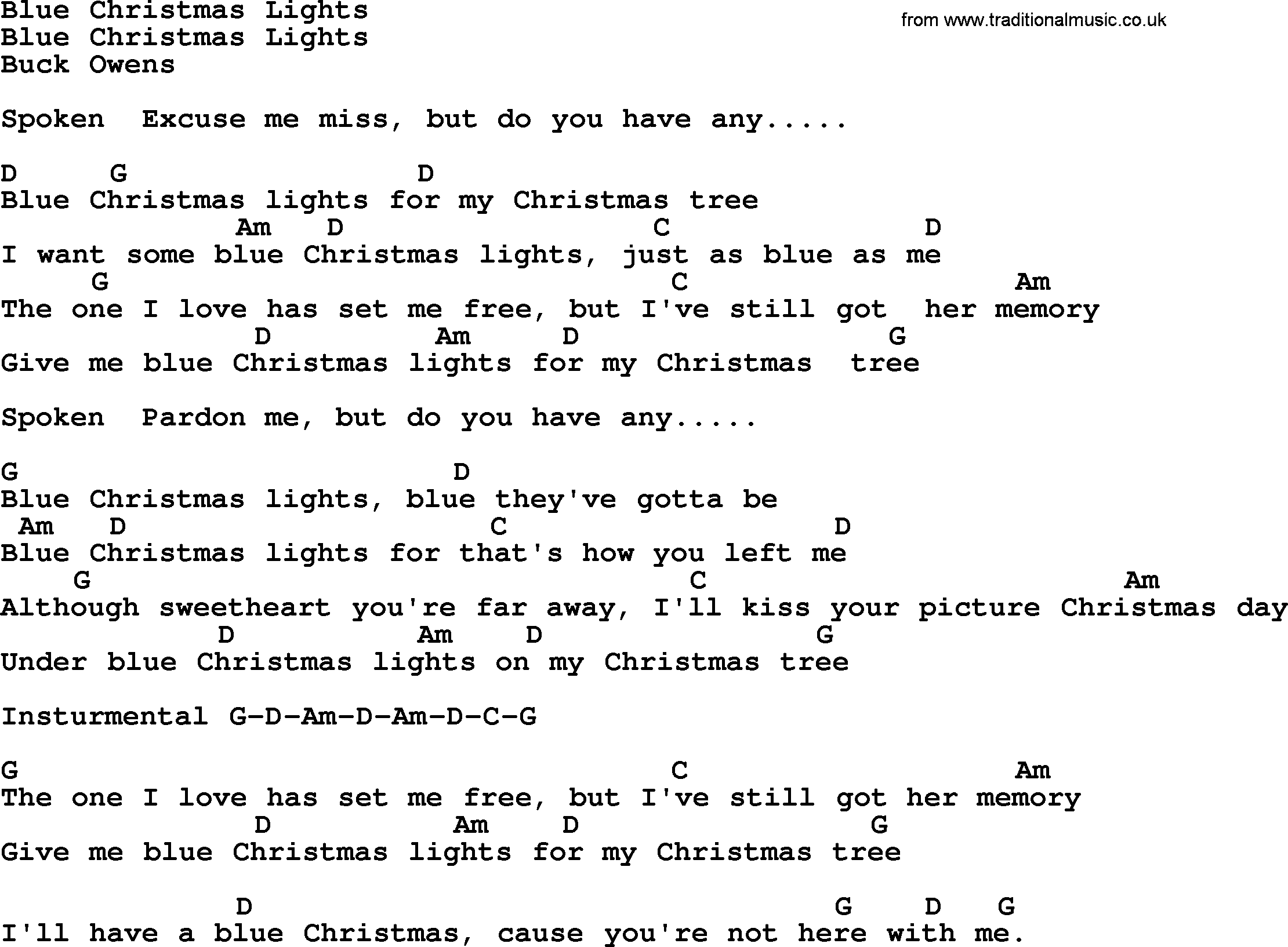 Blue Christmas Lights - Bluegrass lyrics with chords