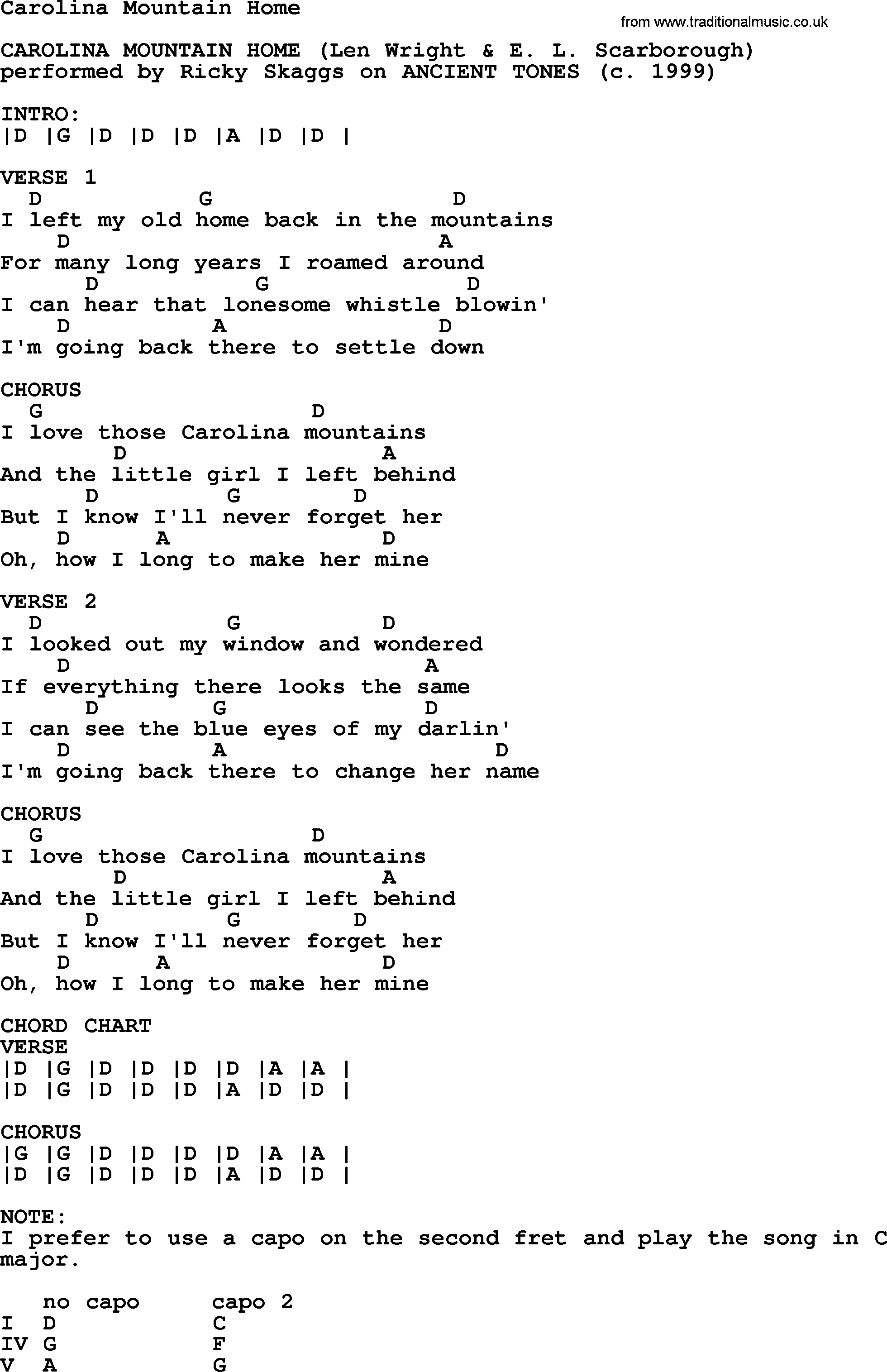Carolina mountain home bluegrass lyrics with chords bluegrass song carolina mountain home lyrics and chords hexwebz Image collections