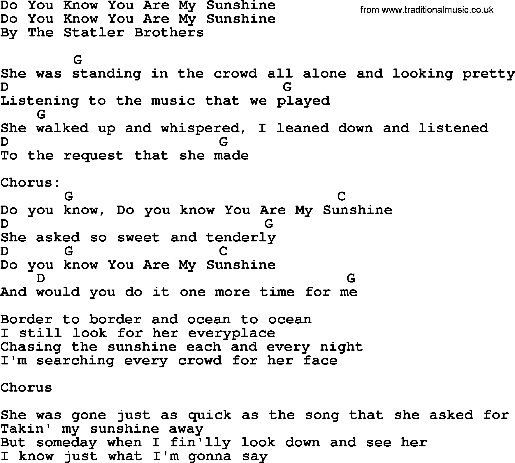 Do You Know You Are My Sunshine - Bluegrass lyrics with chords