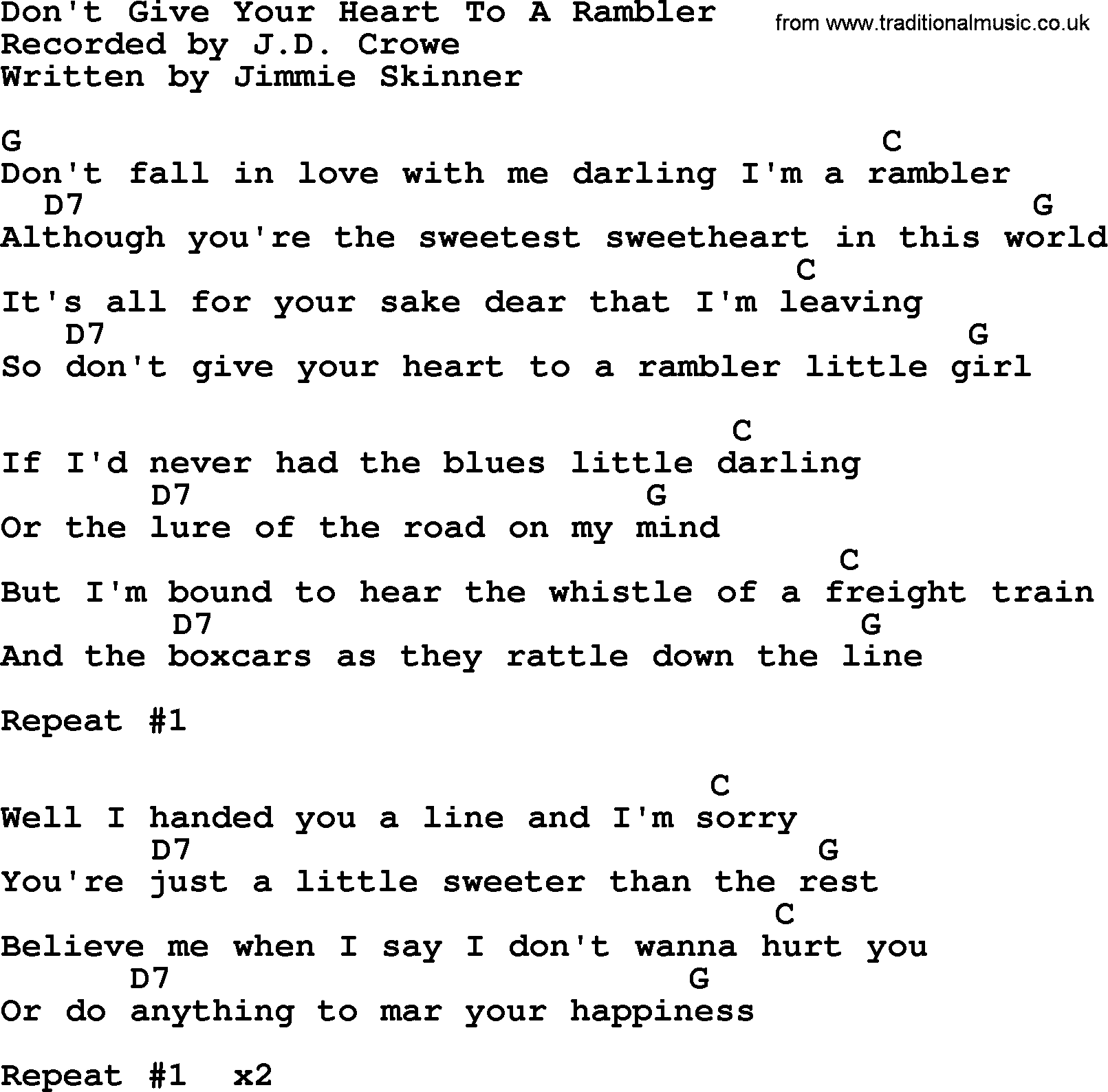 Dont give your heart to a rambler bluegrass lyrics with chords bluegrass song dont give your heart to a rambler lyrics and chords hexwebz Choice Image