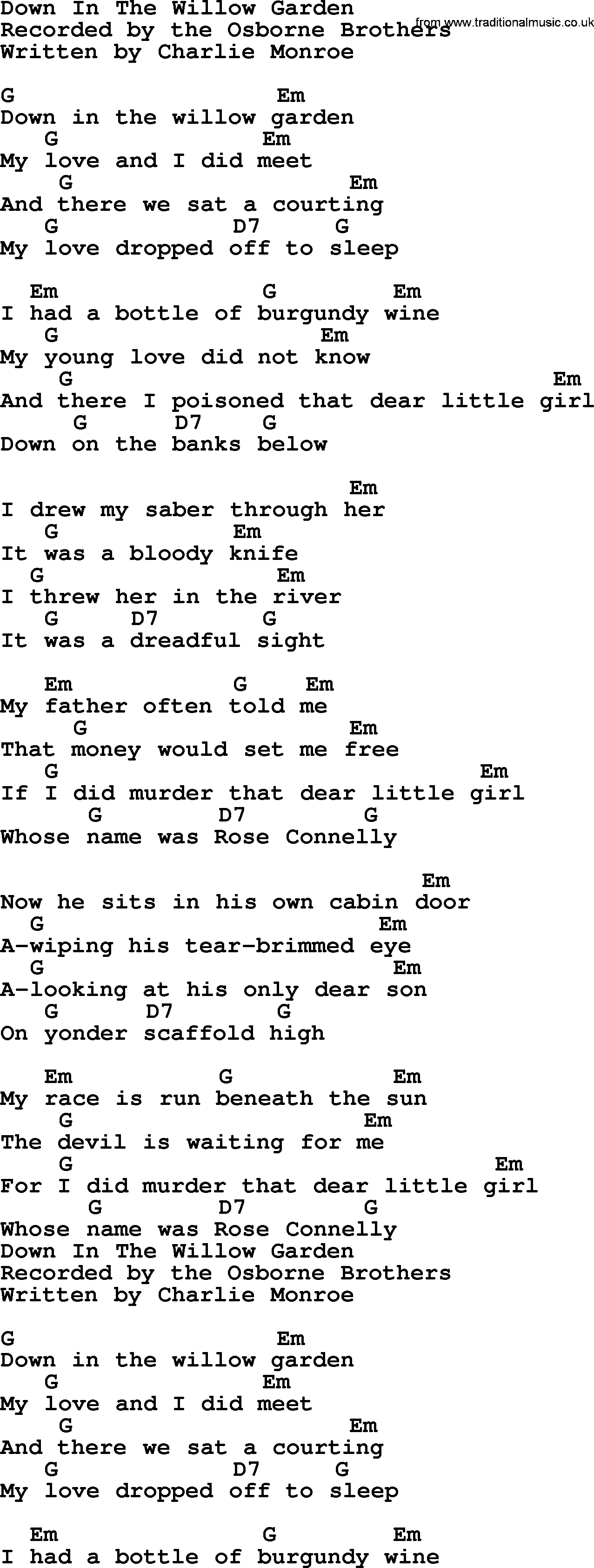 Down In The Willow Garden Bluegrass Lyrics With Chords