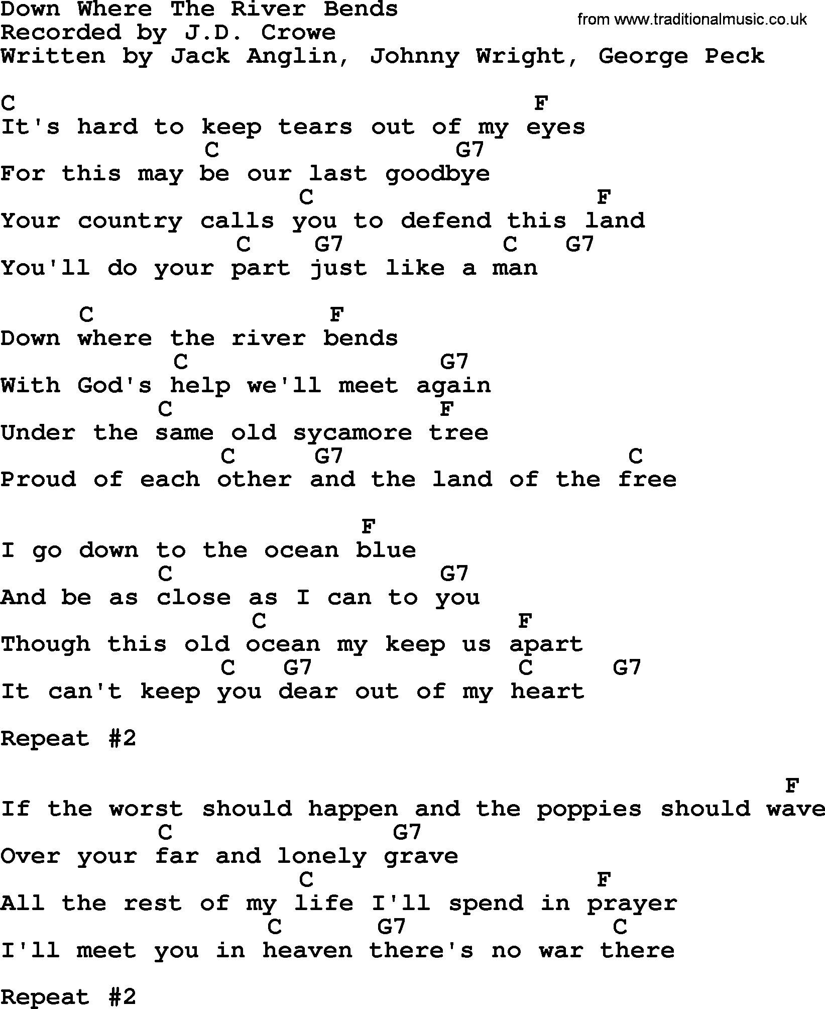 Down where the river bends bluegrass lyrics with chords bluegrass song down where the river bends lyrics and chords hexwebz Image collections