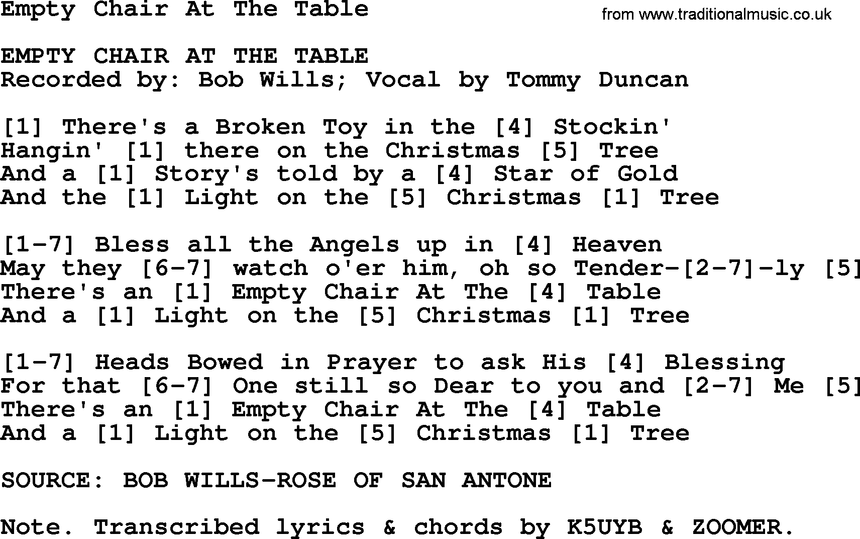 Bluegrass song Empty Chair At The Table lyrics and chords  sc 1 st  Traditional Music Library & Empty Chair At The Table - Bluegrass lyrics with chords
