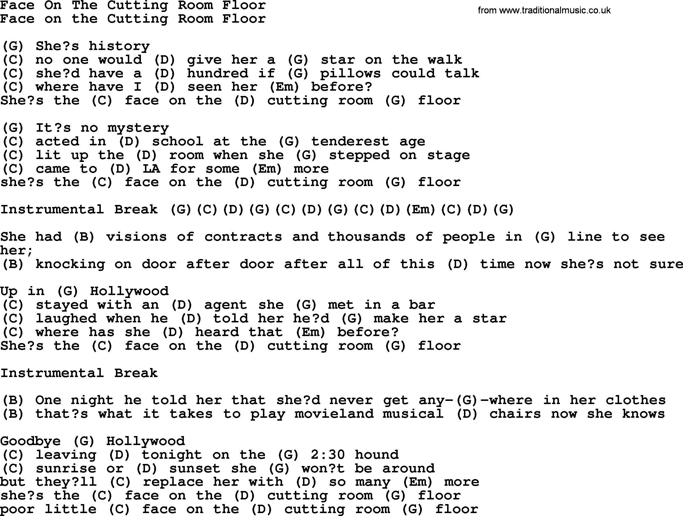 Face On The Cutting Room Floor - Bluegrass lyrics with chords