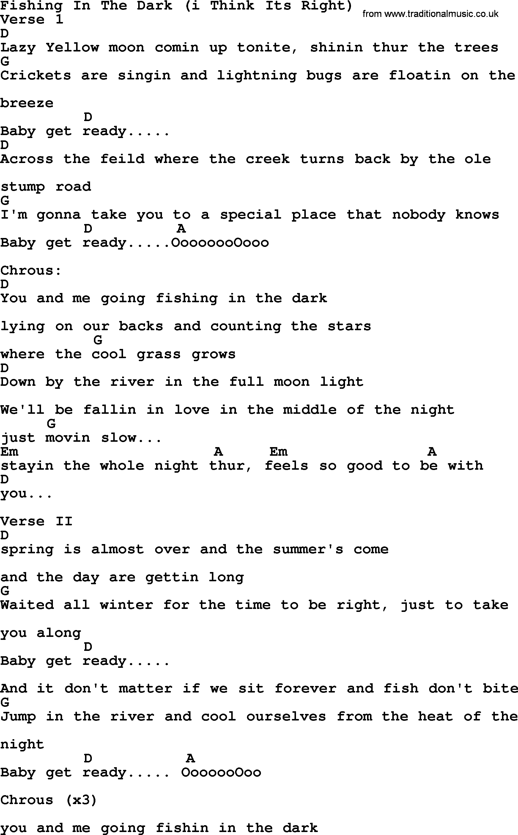 Fishing In The Dark I Think Its Right   Bluegrass lyrics with chords