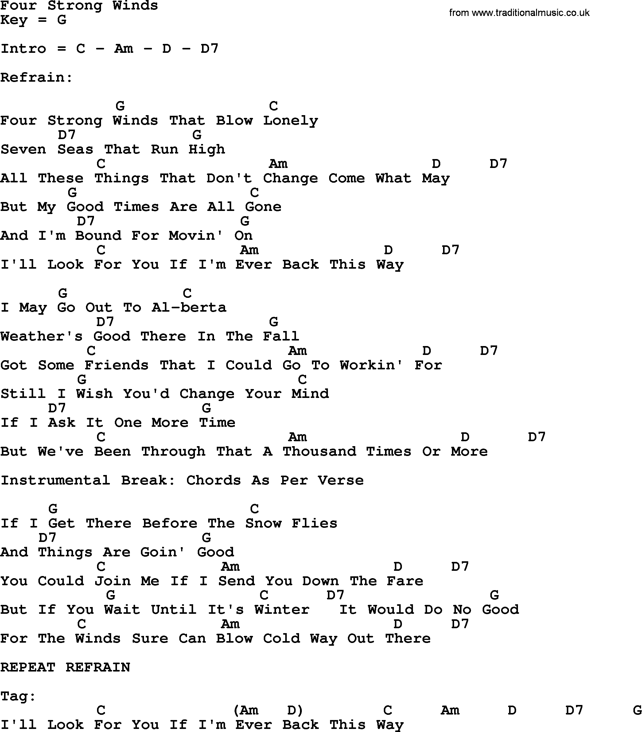 Four Strong Winds Bluegrass Lyrics With Chords