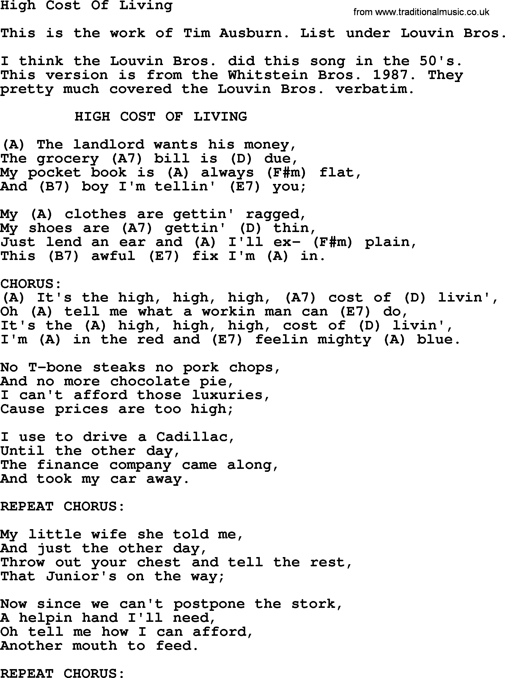 High Cost Of Living - Bluegrass lyrics with chords