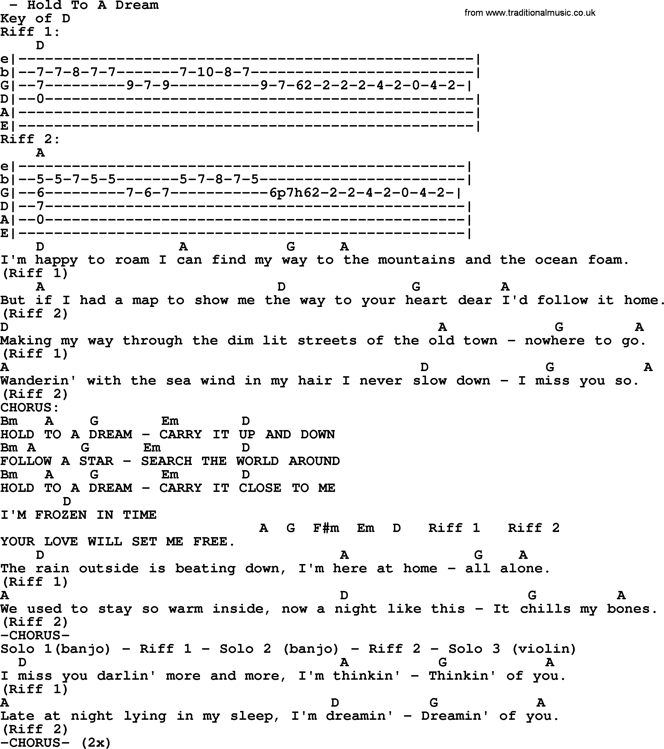 Hold To A Dream - Bluegrass lyrics with chords