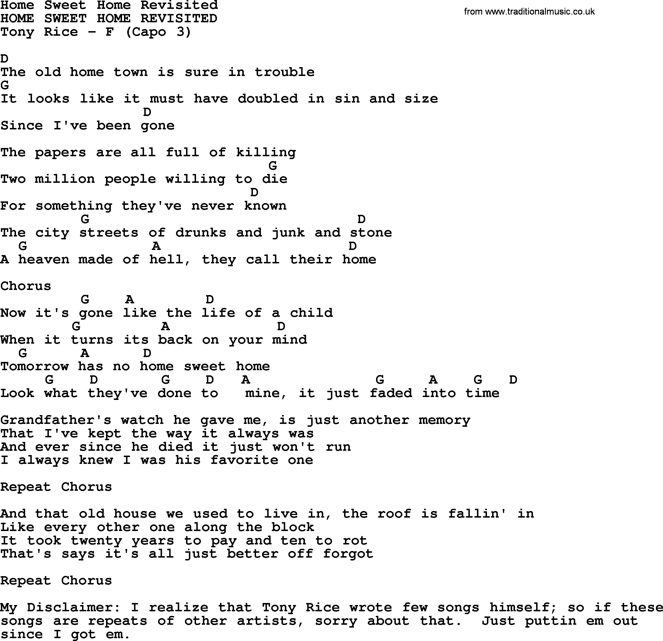 Home Sweet Home Revisited Bluegrass Lyrics With Chords