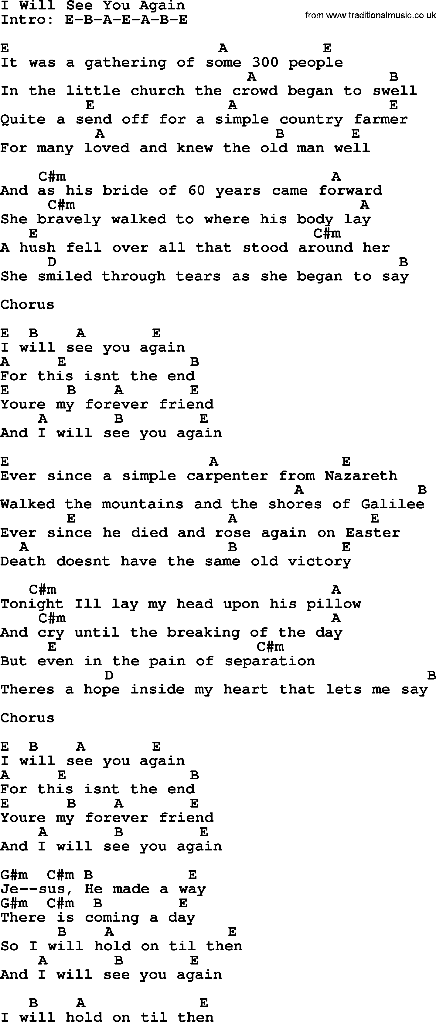 I Will See You Again - Bluegrass lyrics with chords