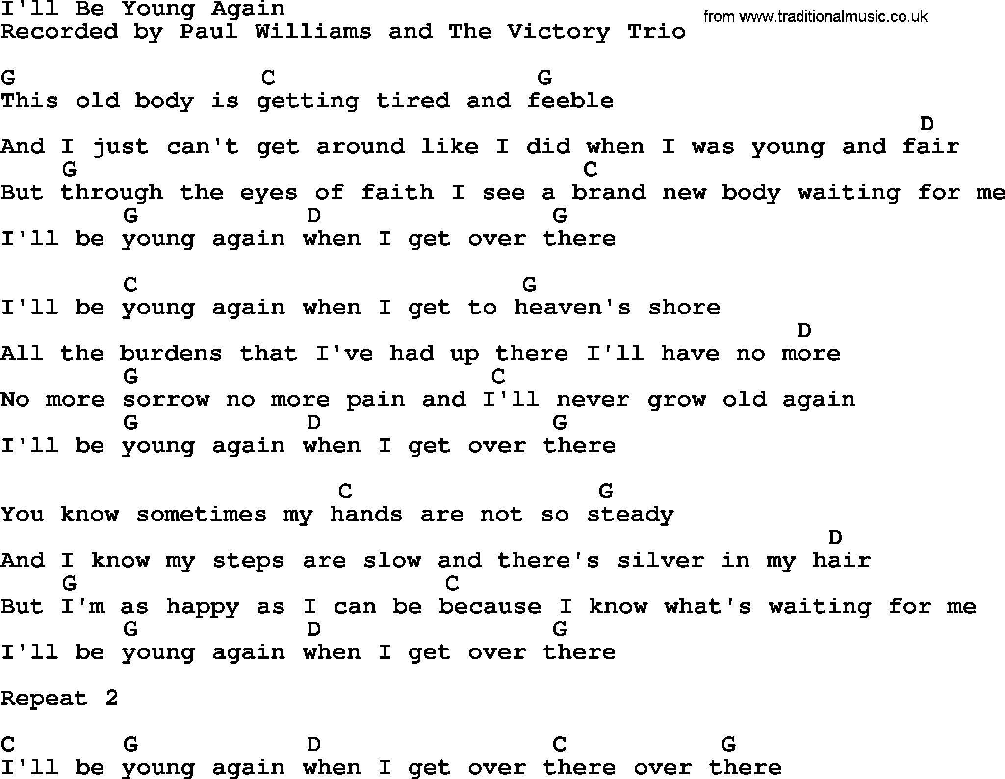 Ill be young again bluegrass lyrics with chords bluegrass song ill be young again lyrics and chords hexwebz Images