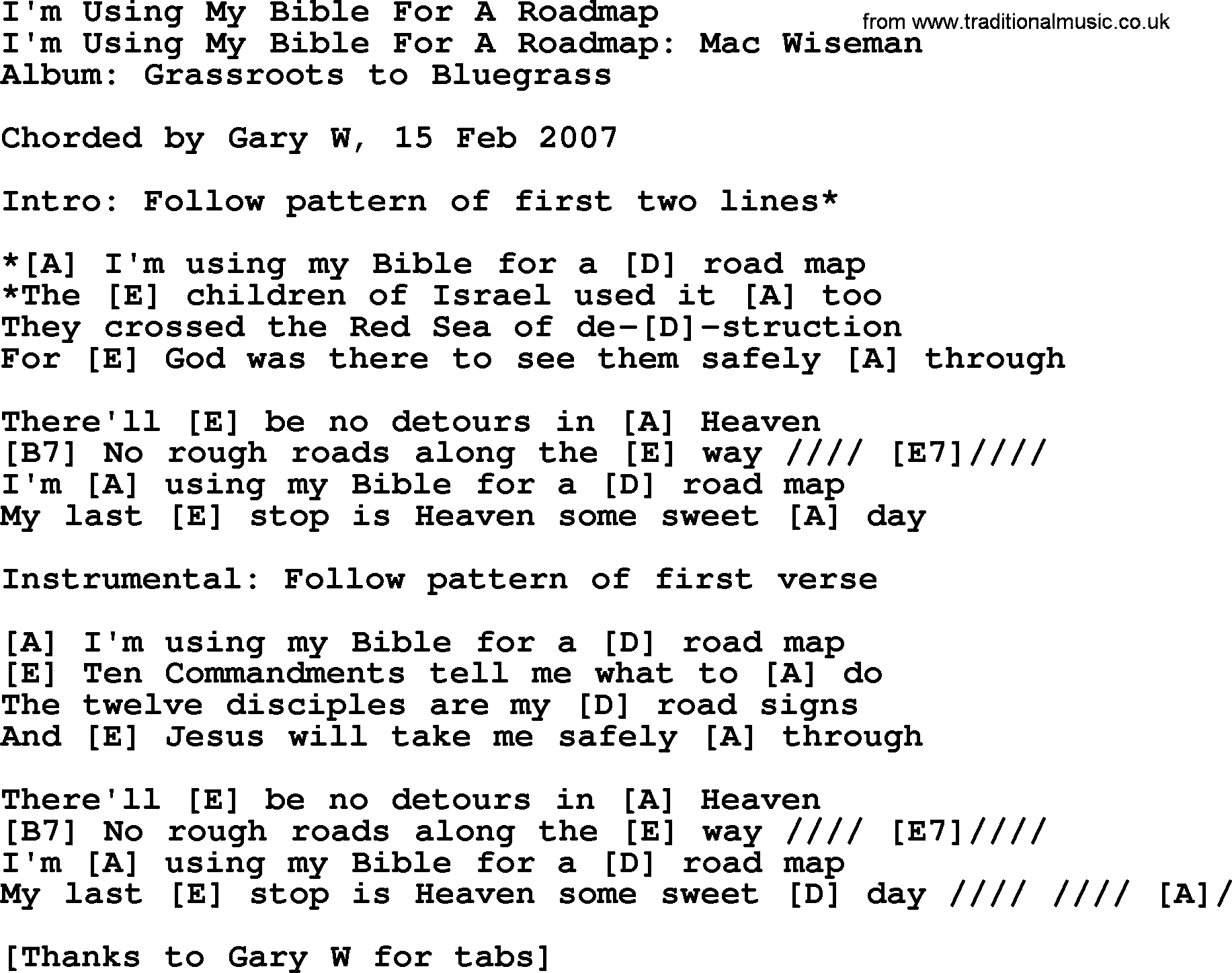 I'm Using My Bible For A Roadmap 2 - Bluegrass lyrics with