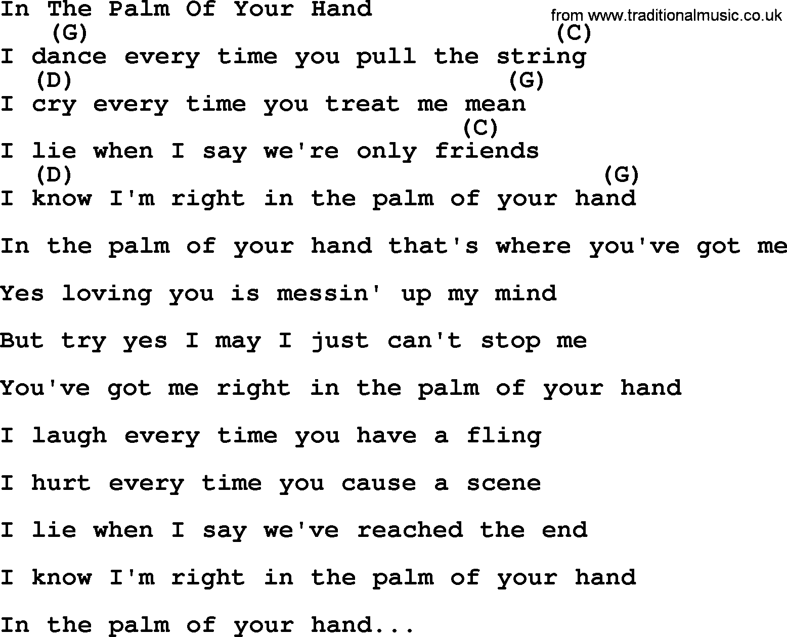 In The Palm Of Your Hand - Bluegrass lyrics with chords