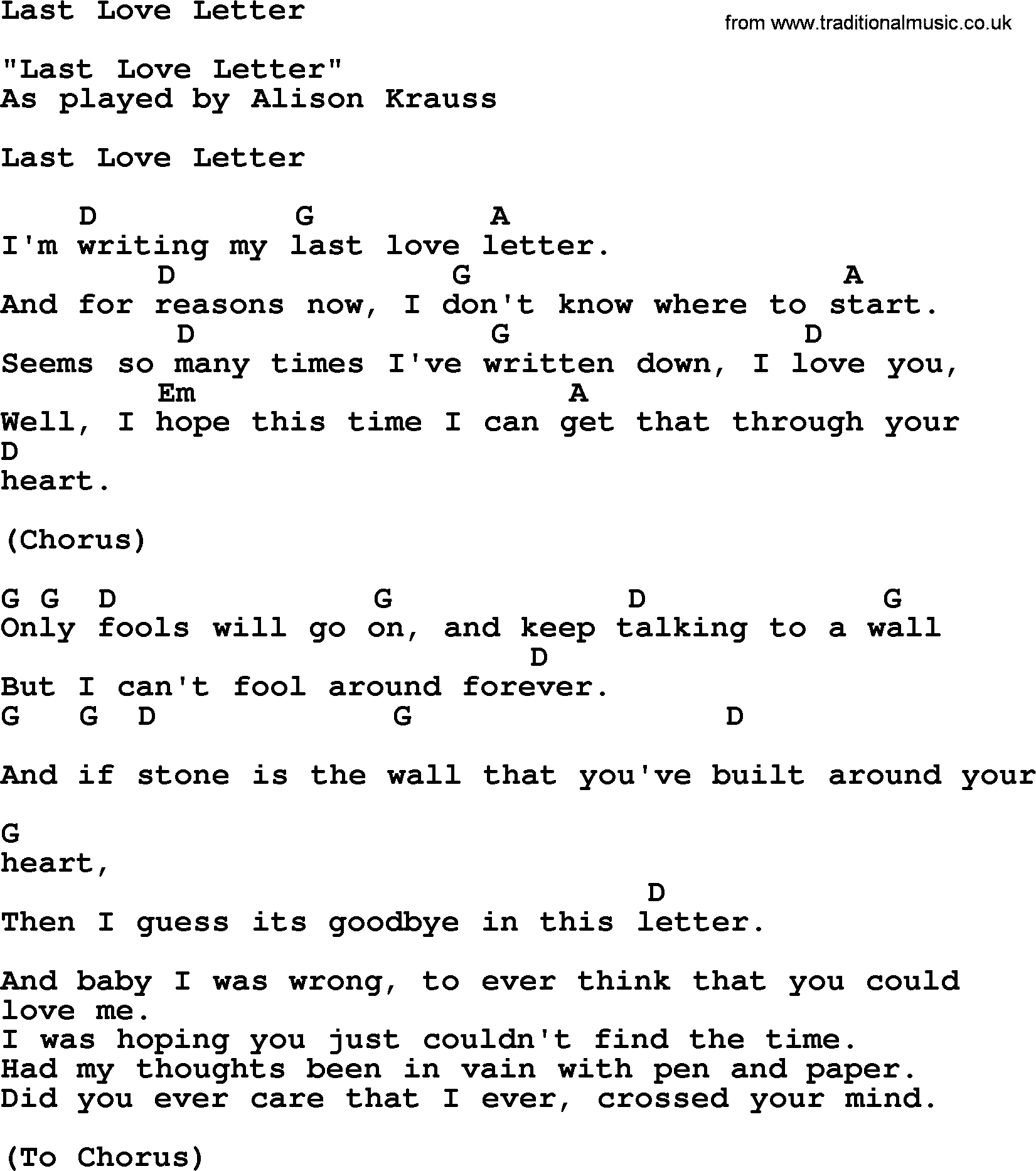 Bluegrass Song Last Love Letter Lyrics And Chords
