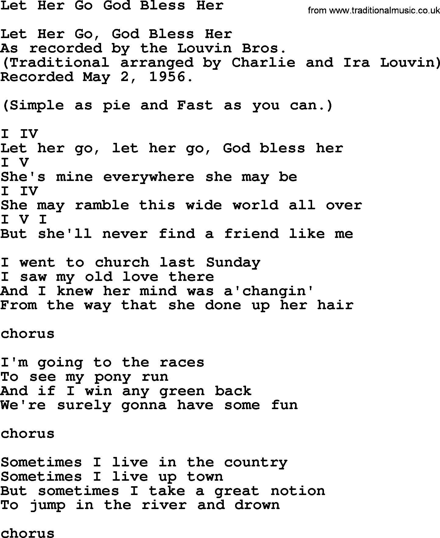 Let Her Go God Bless Her - Bluegrass lyrics with chords