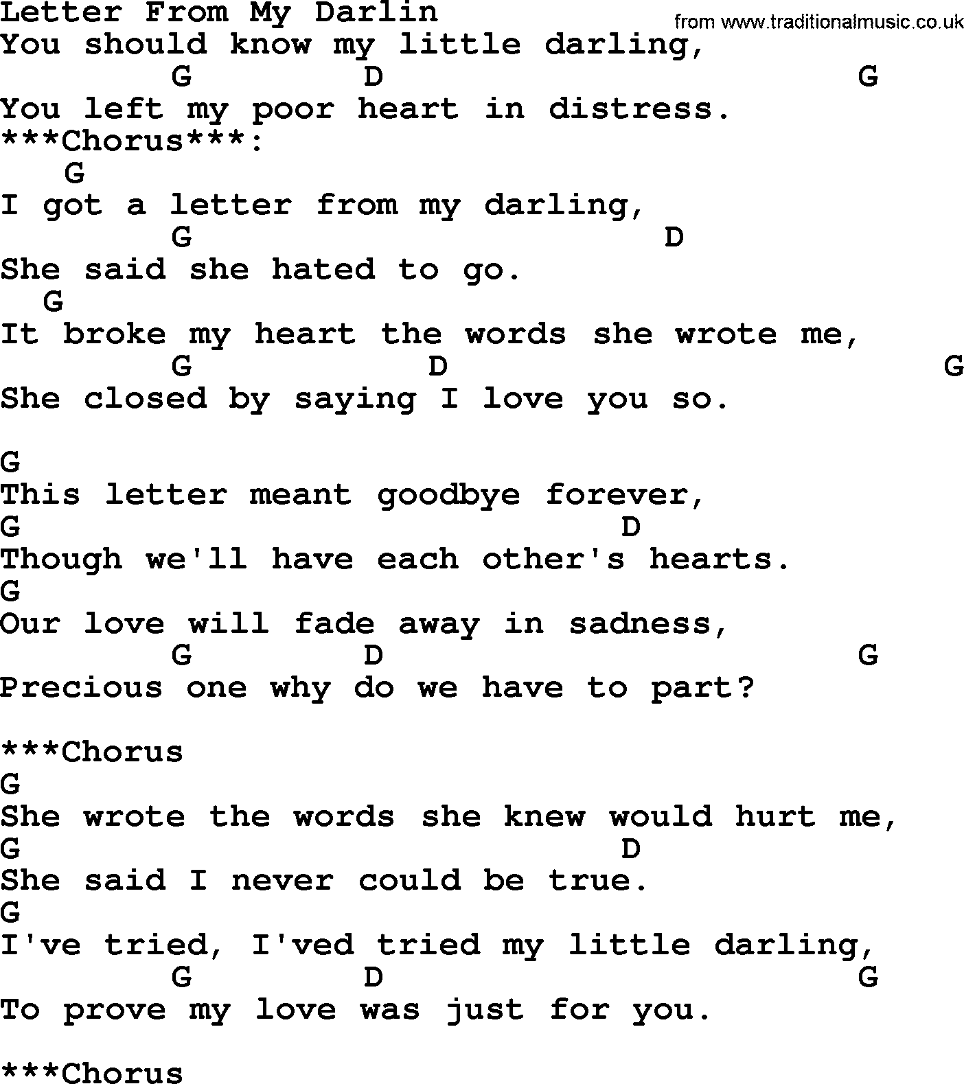 Letter From My Darlin - Bluegrass lyrics with chords