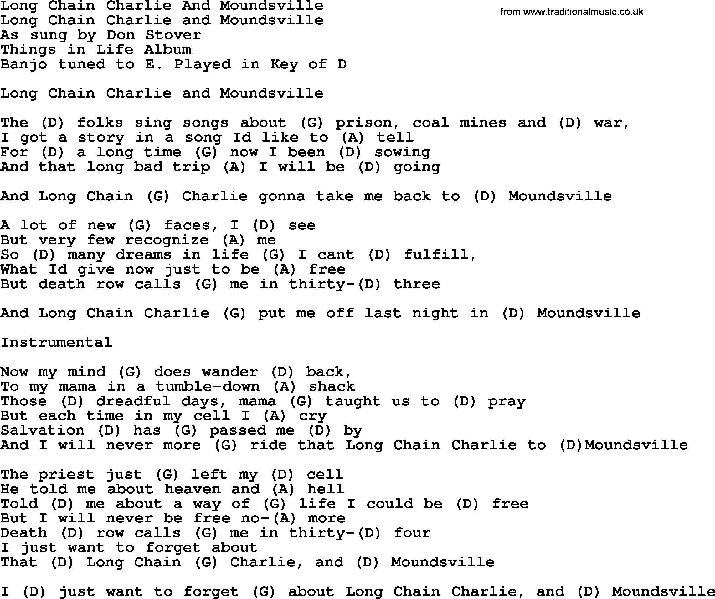 Long Chain Charlie And Moundsville Bluegrass Lyrics With