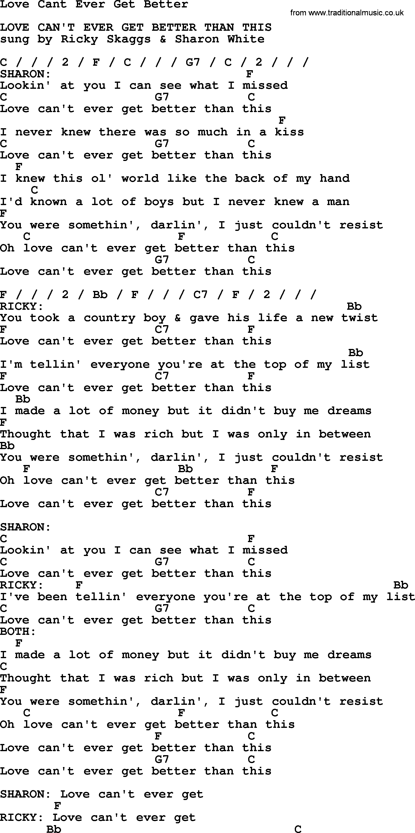 Love Cant Ever Get Better   Bluegrass lyrics with chords