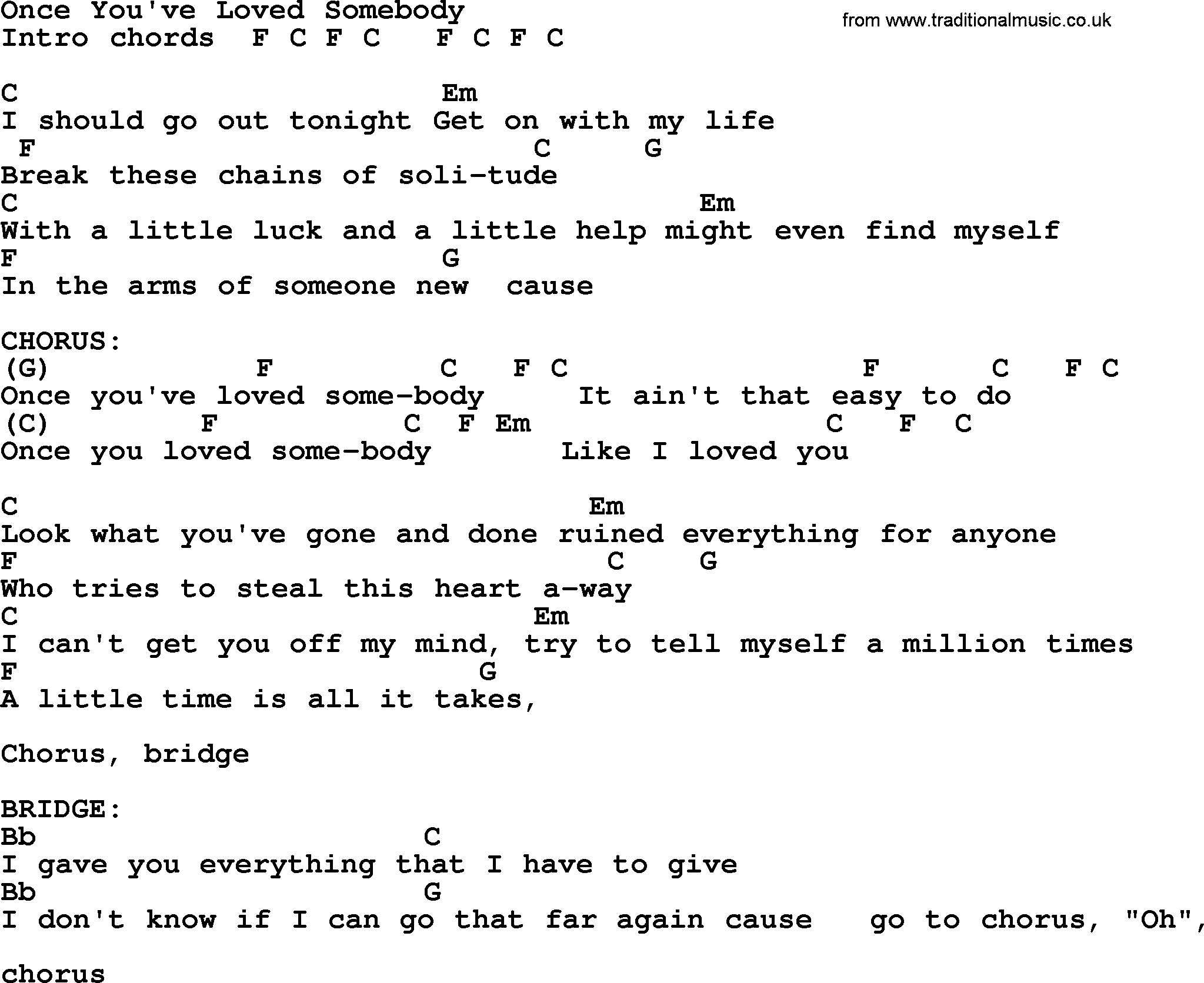 Once Youve Loved Somebody Bluegrass Lyrics With Chords