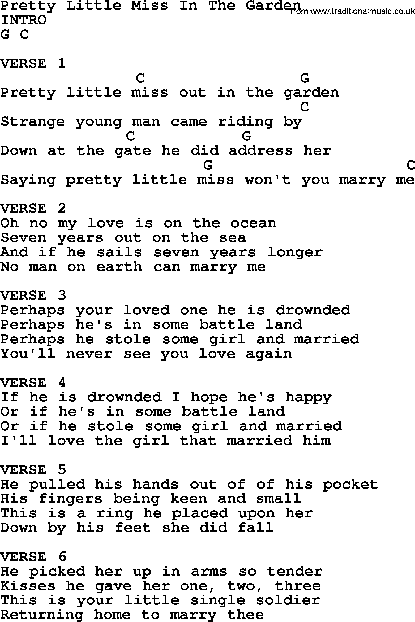Pretty Little Miss In The Garden Bluegrass Lyrics With Chords