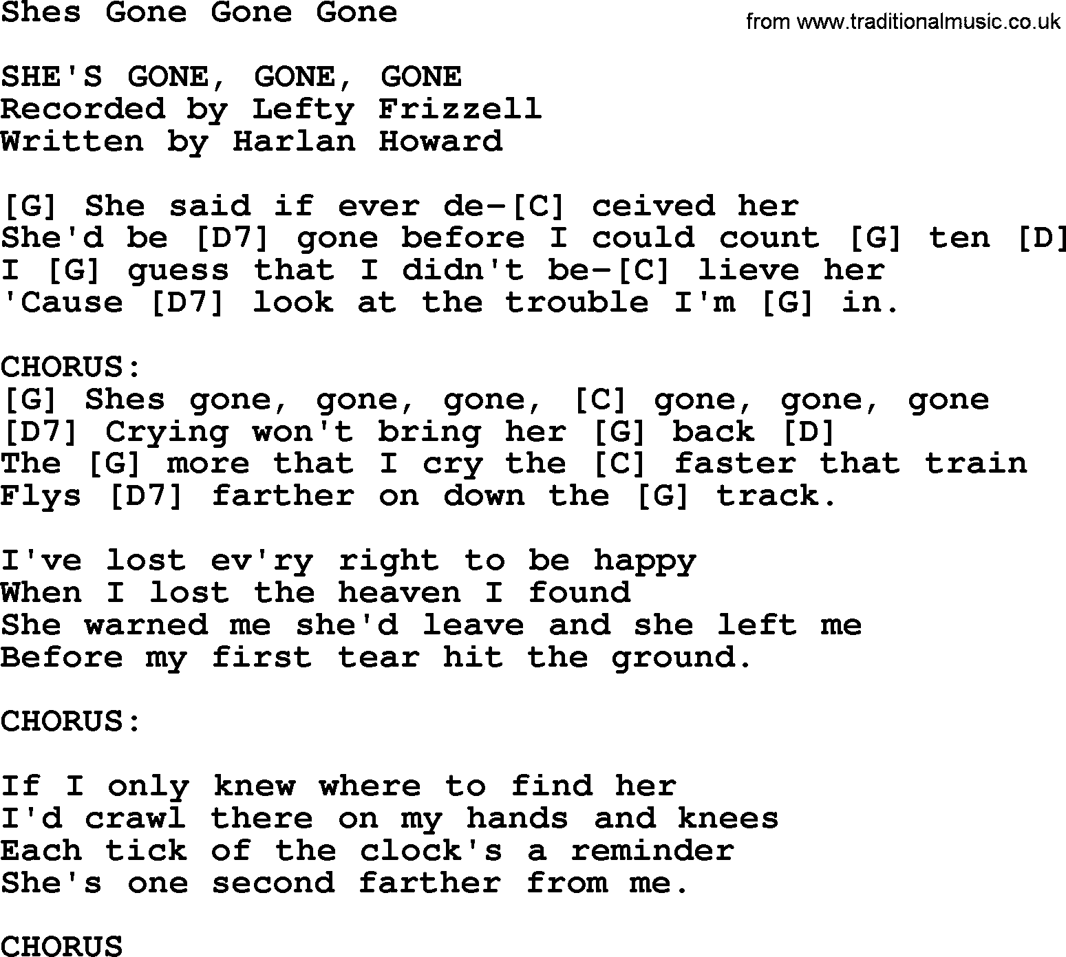 Shes Gone Gone Gone - Bluegrass lyrics with chords