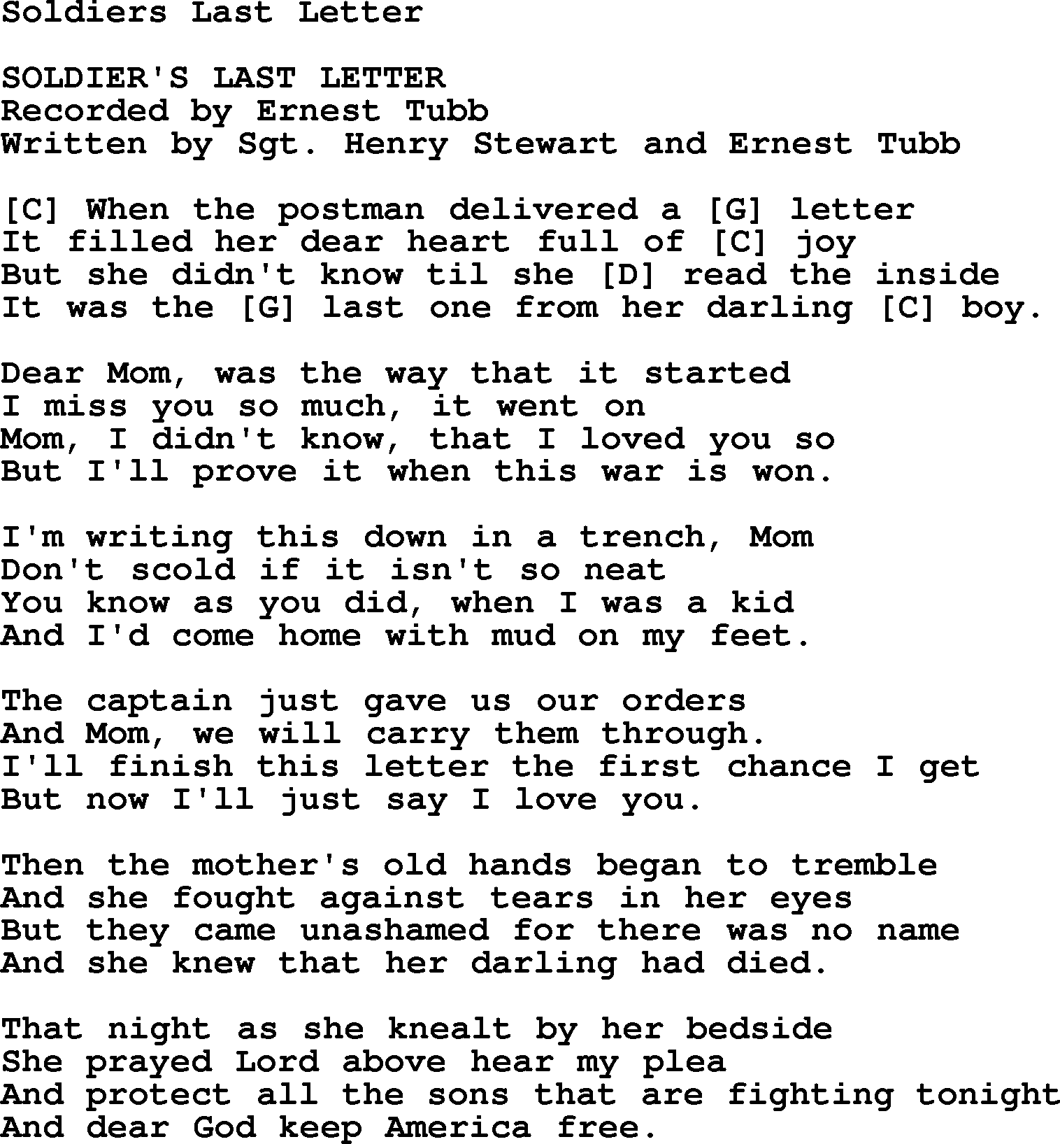 Soldiers Last Letter   Bluegrass lyrics with chords