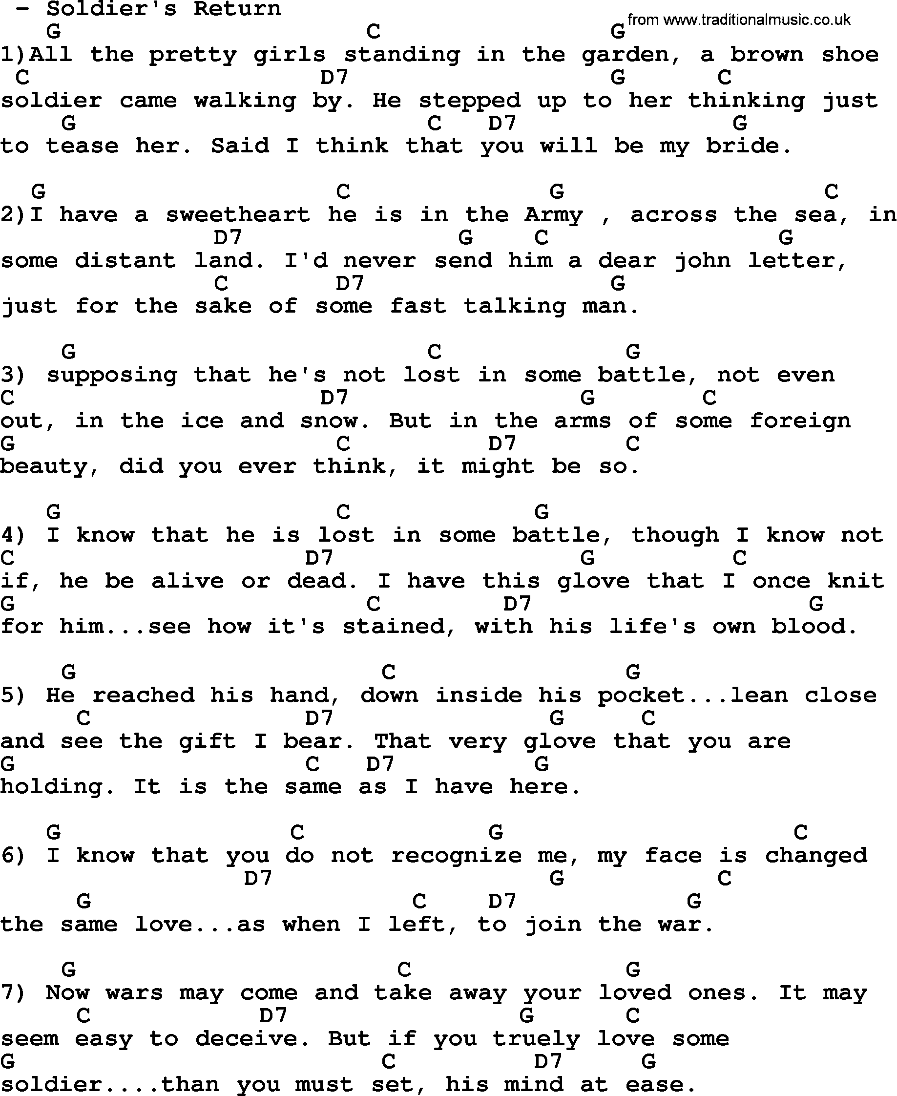 Soldiers return bluegrass lyrics with chords bluegrass song soldiers return lyrics and chords hexwebz Choice Image