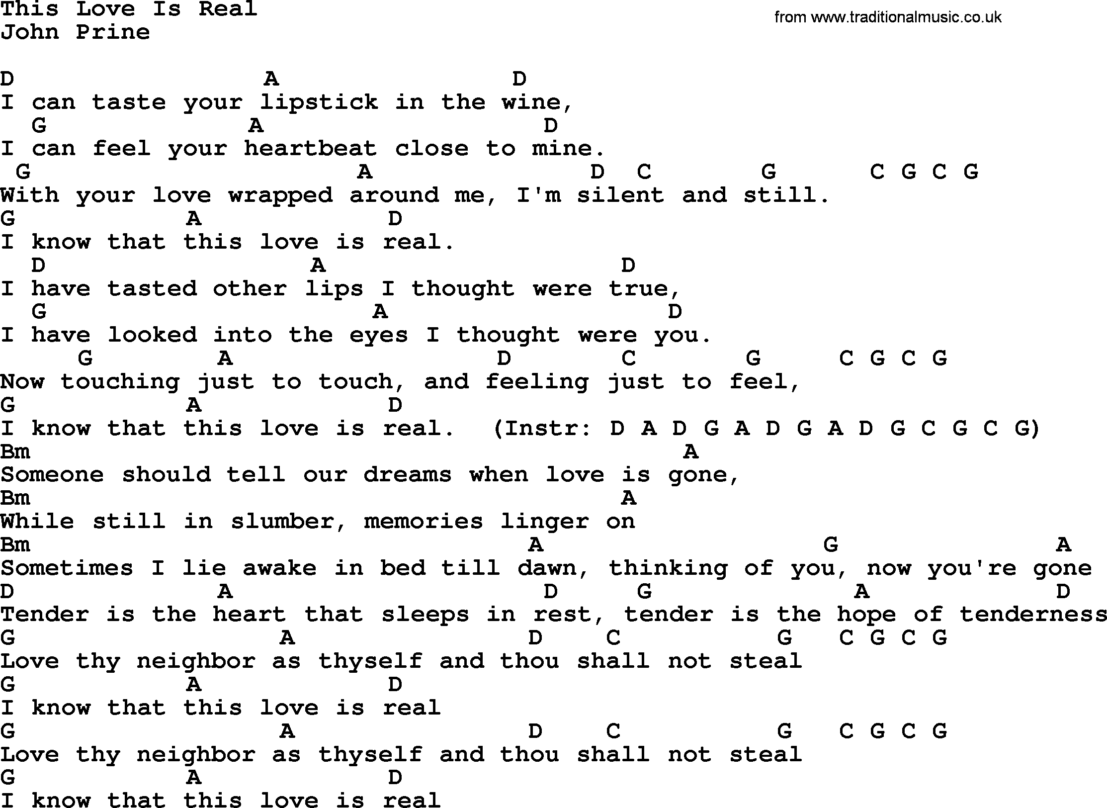 This Love Is Real - Bluegrass lyrics with chords