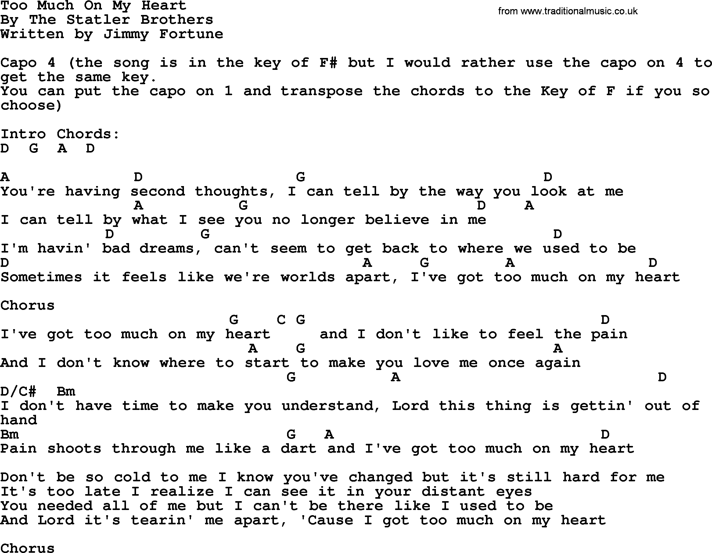 Too Much On My Heart Bluegrass Lyrics With Chords