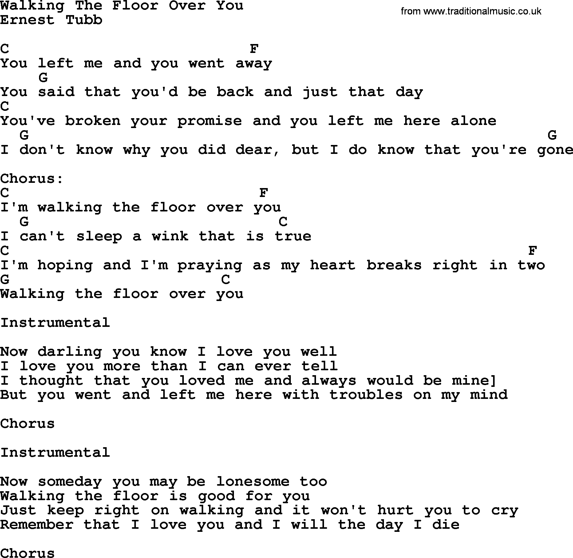 Bluegrass Song: Walking The Floor Over You, Lyrics And Chords