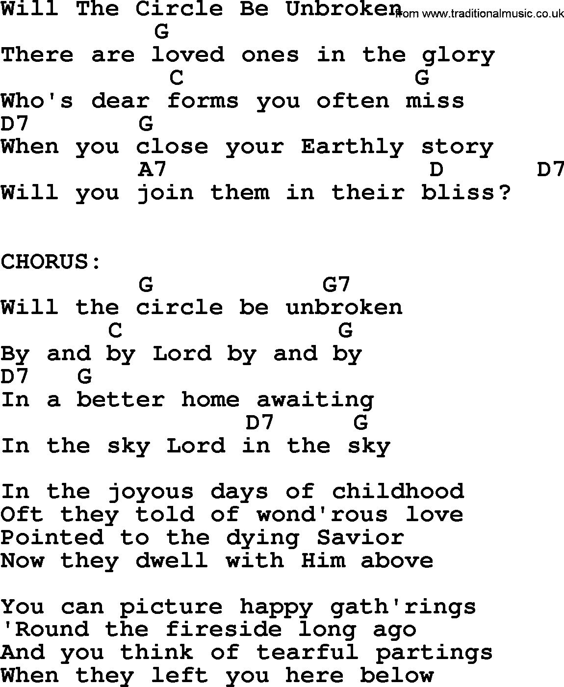 Will The Circle Be Unbroken   Bluegrass lyrics with chords